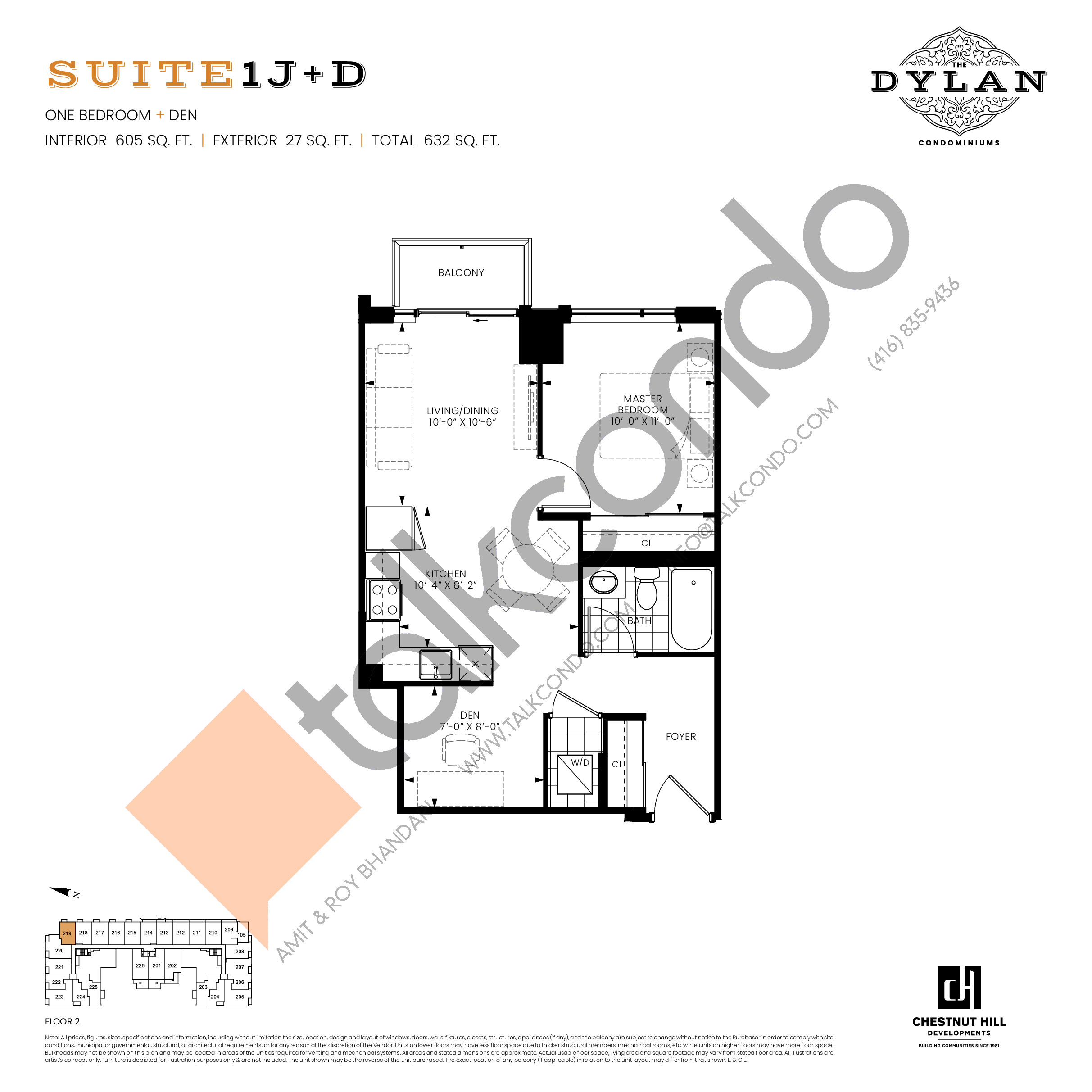 Suite 1J+D Floor Plan at The Dylan Condos - 605 sq.ft