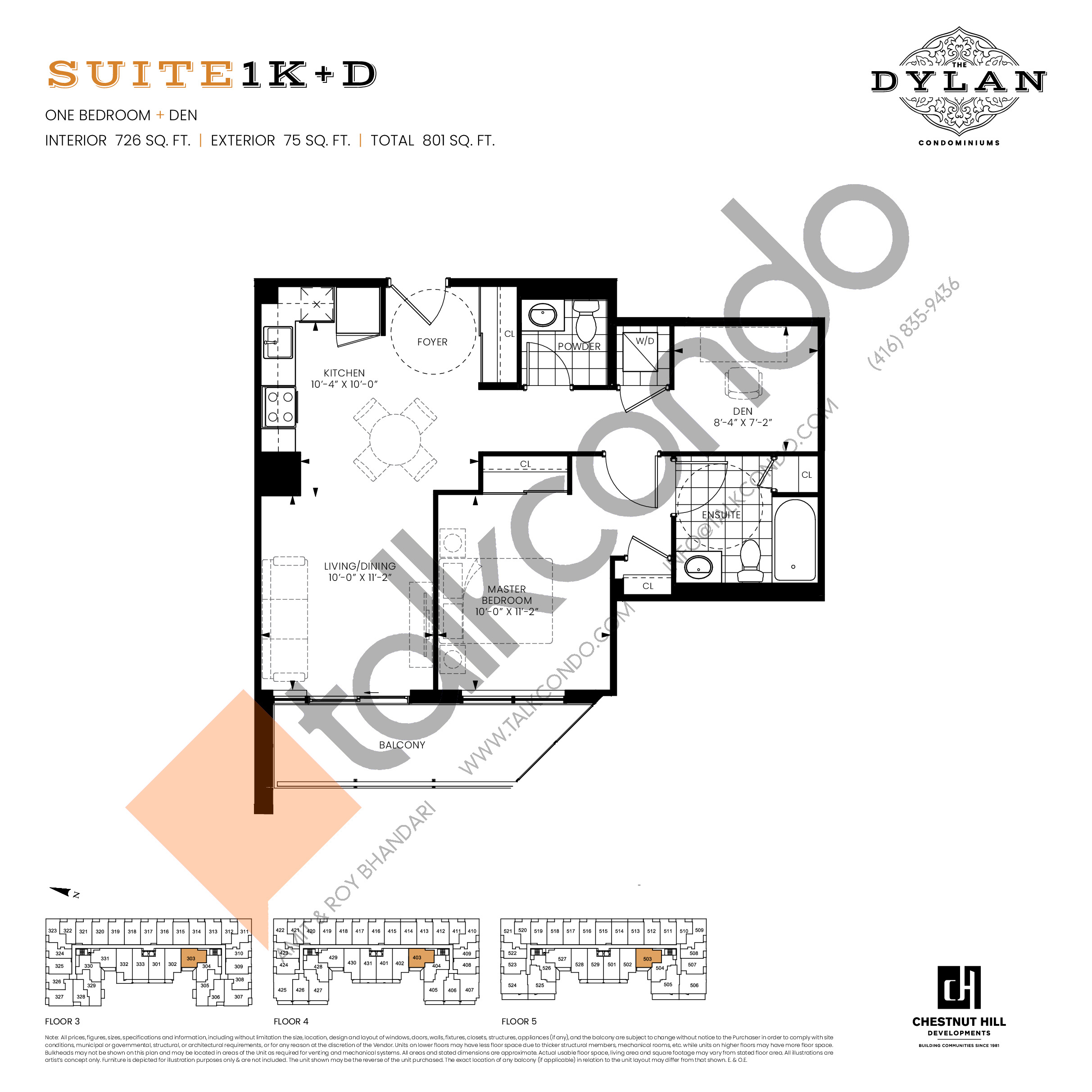 Suite 1K+D Floor Plan at The Dylan Condos - 726 sq.ft