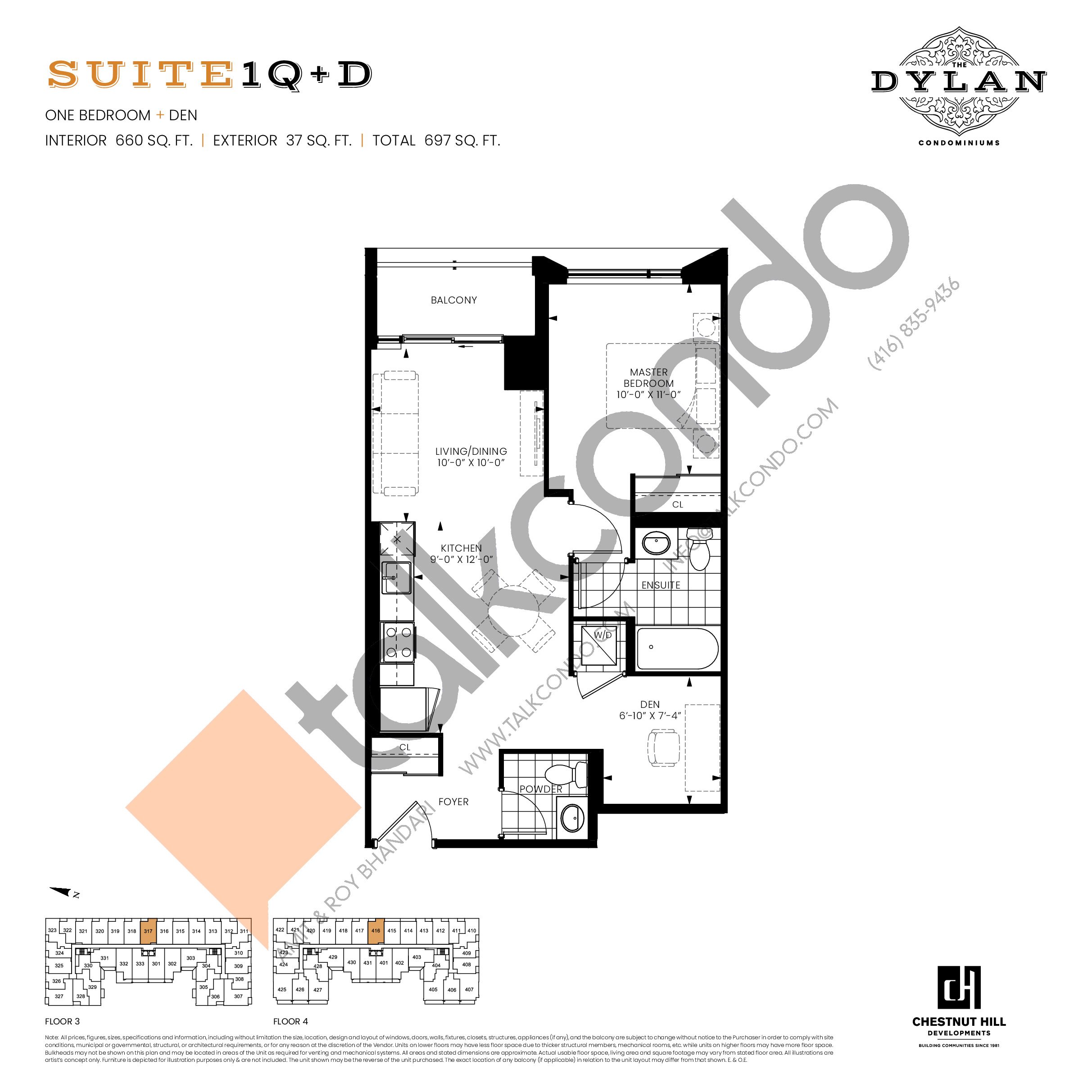 Suite 1Q+D Floor Plan at The Dylan Condos - 660 sq.ft