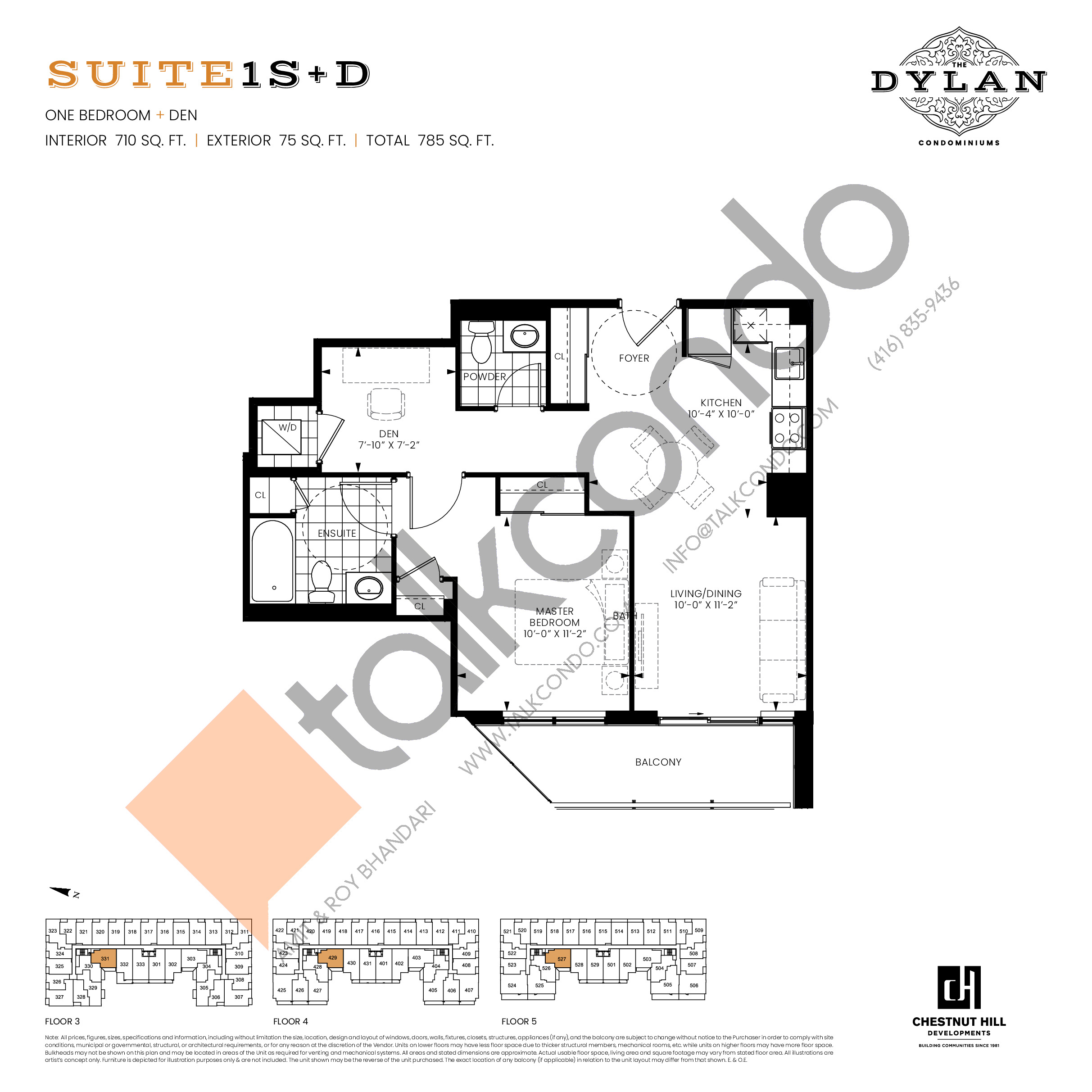 Suite 1S+D Floor Plan at The Dylan Condos - 710 sq.ft