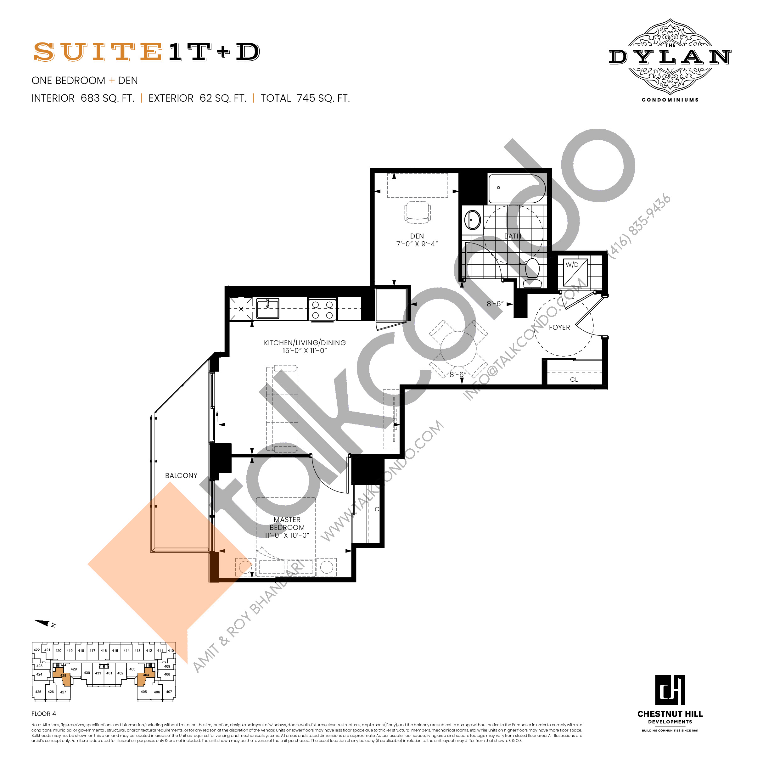 Suite 1T+D Floor Plan at The Dylan Condos - 683 sq.ft