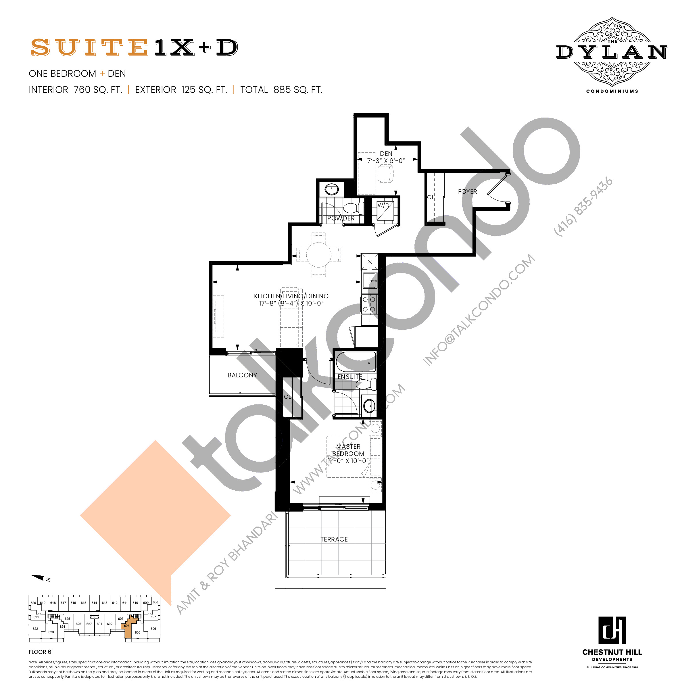Suite 1X+D Floor Plan at The Dylan Condos - 760 sq.ft