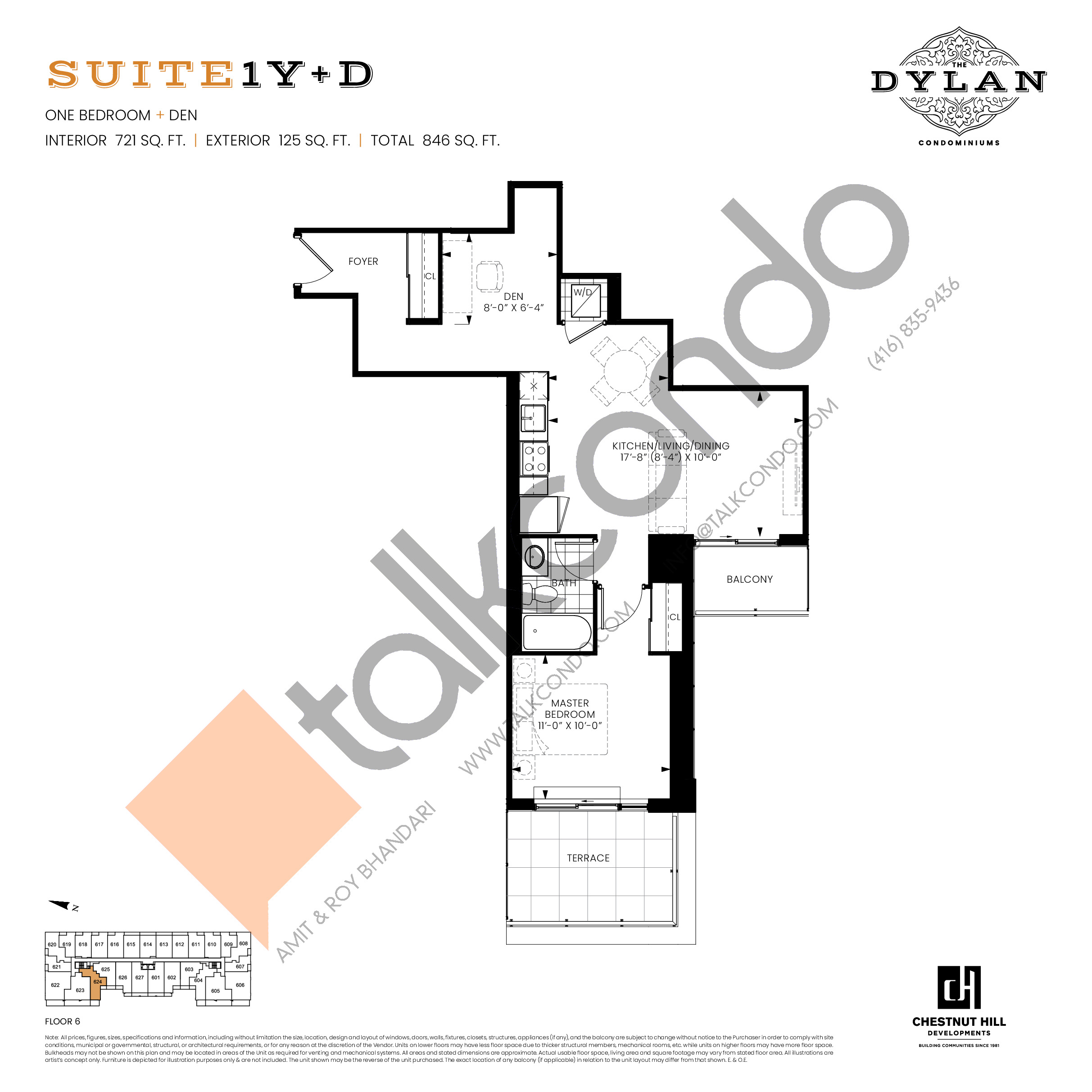 Suite 1Y+D Floor Plan at The Dylan Condos - 721 sq.ft