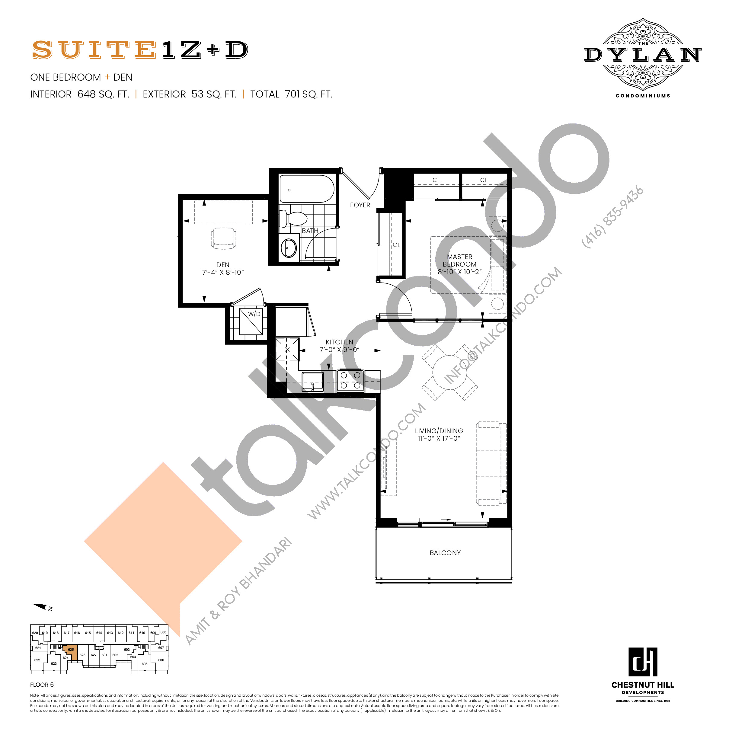 Suite 1Z+D Floor Plan at The Dylan Condos - 648 sq.ft