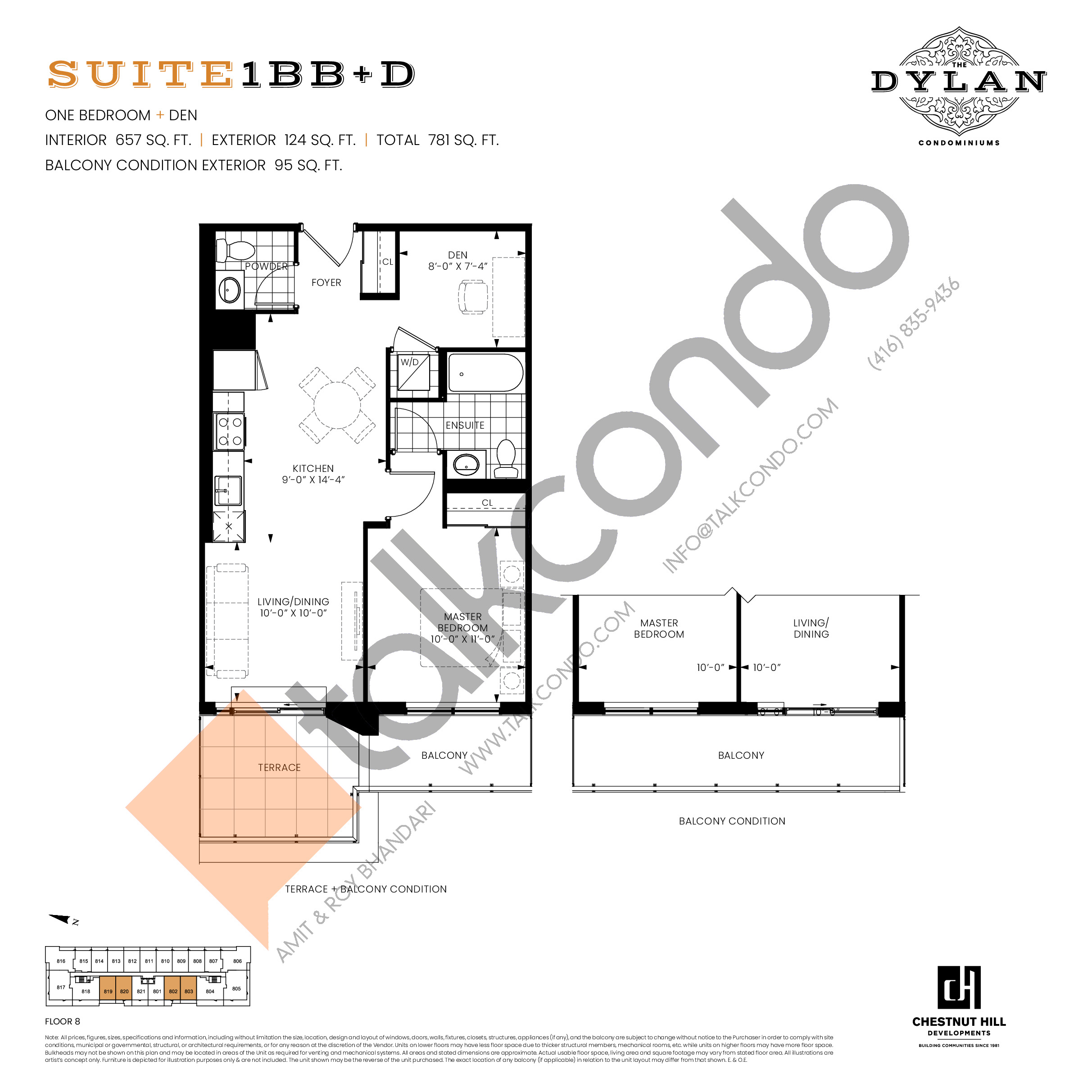 Suite 1BB+D Floor Plan at The Dylan Condos - 657 sq.ft