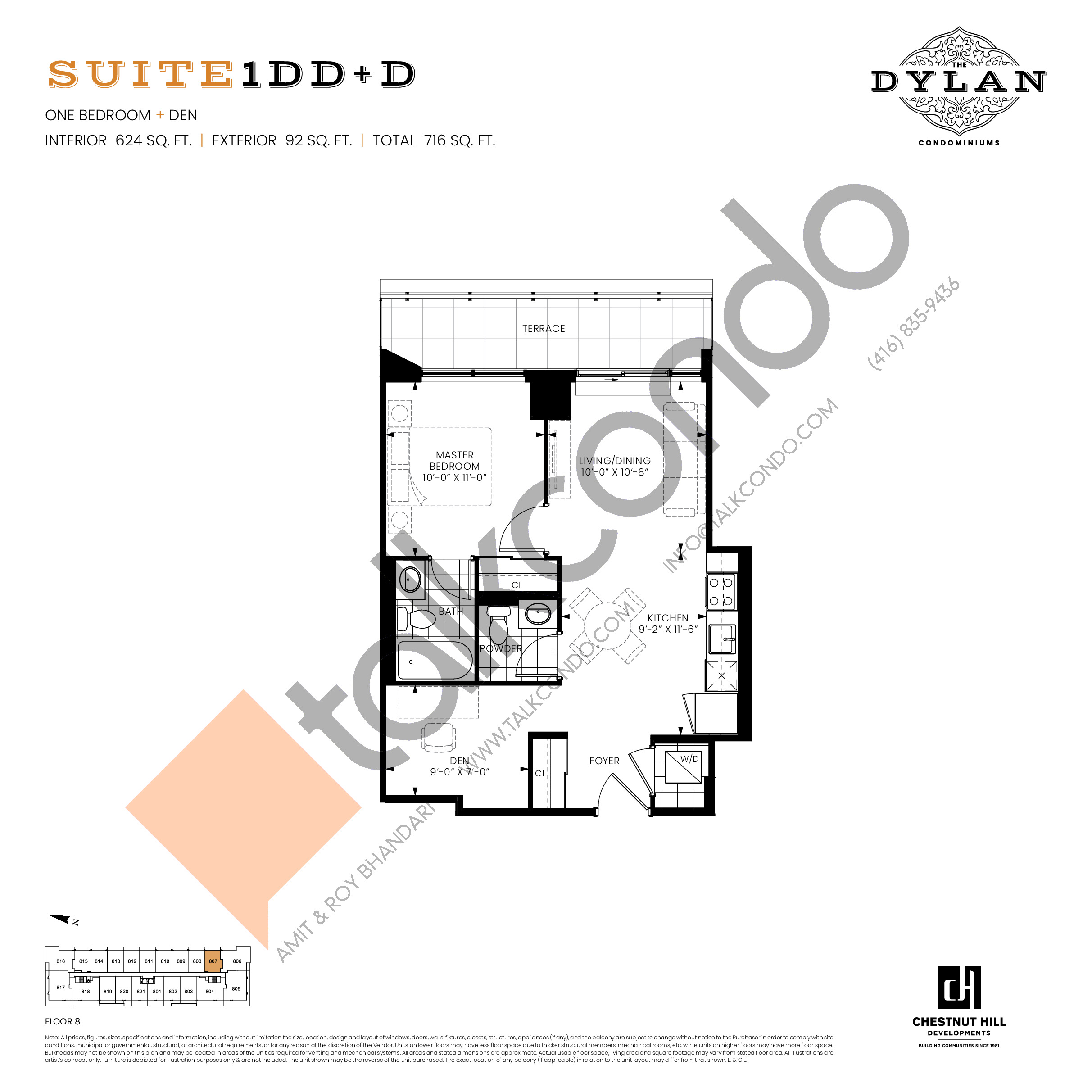 Suite 1DD+D Floor Plan at The Dylan Condos - 624 sq.ft