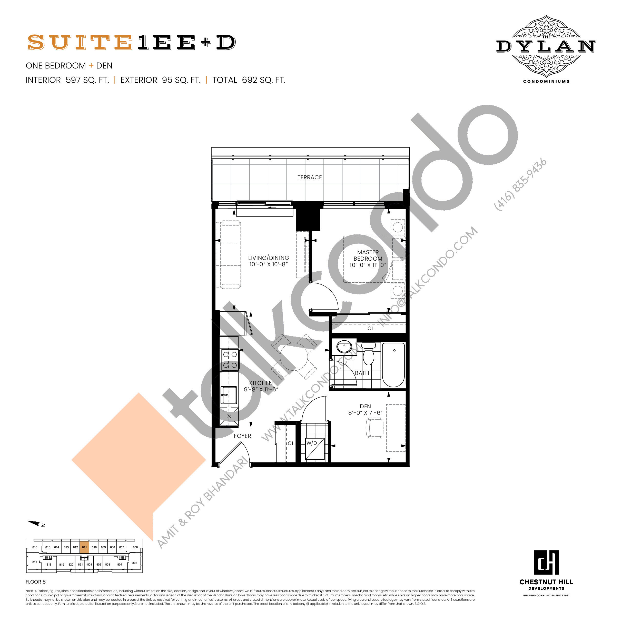 Suite 1EE+D Floor Plan at The Dylan Condos - 597 sq.ft