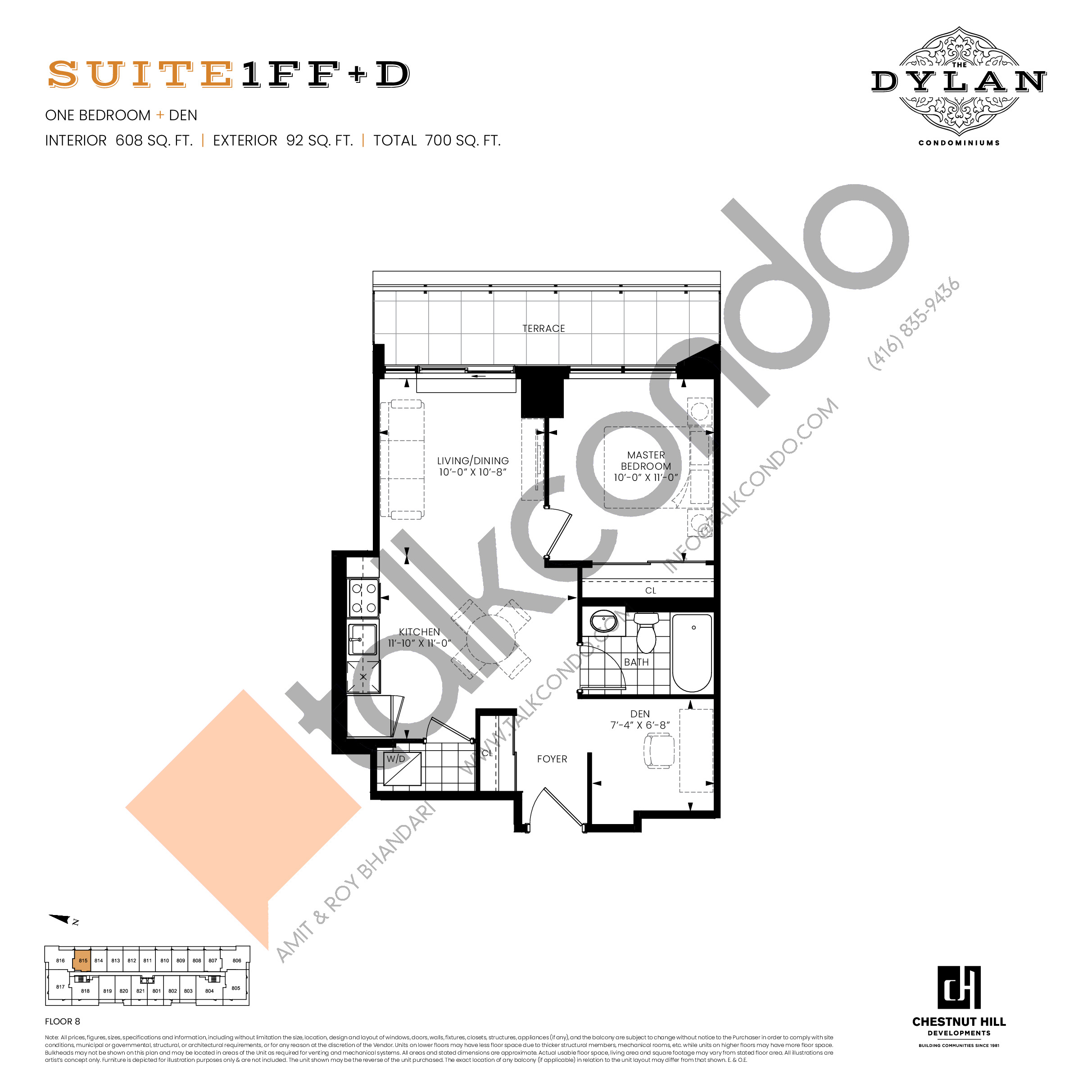 Suite 1FF+D Floor Plan at The Dylan Condos - 608 sq.ft