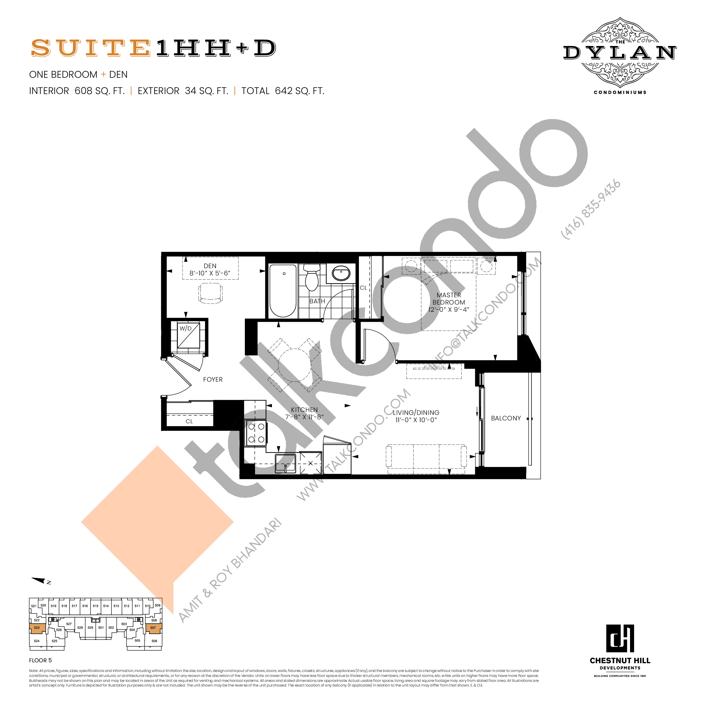 Suite 1HH+D Floor Plan at The Dylan Condos - 608 sq.ft