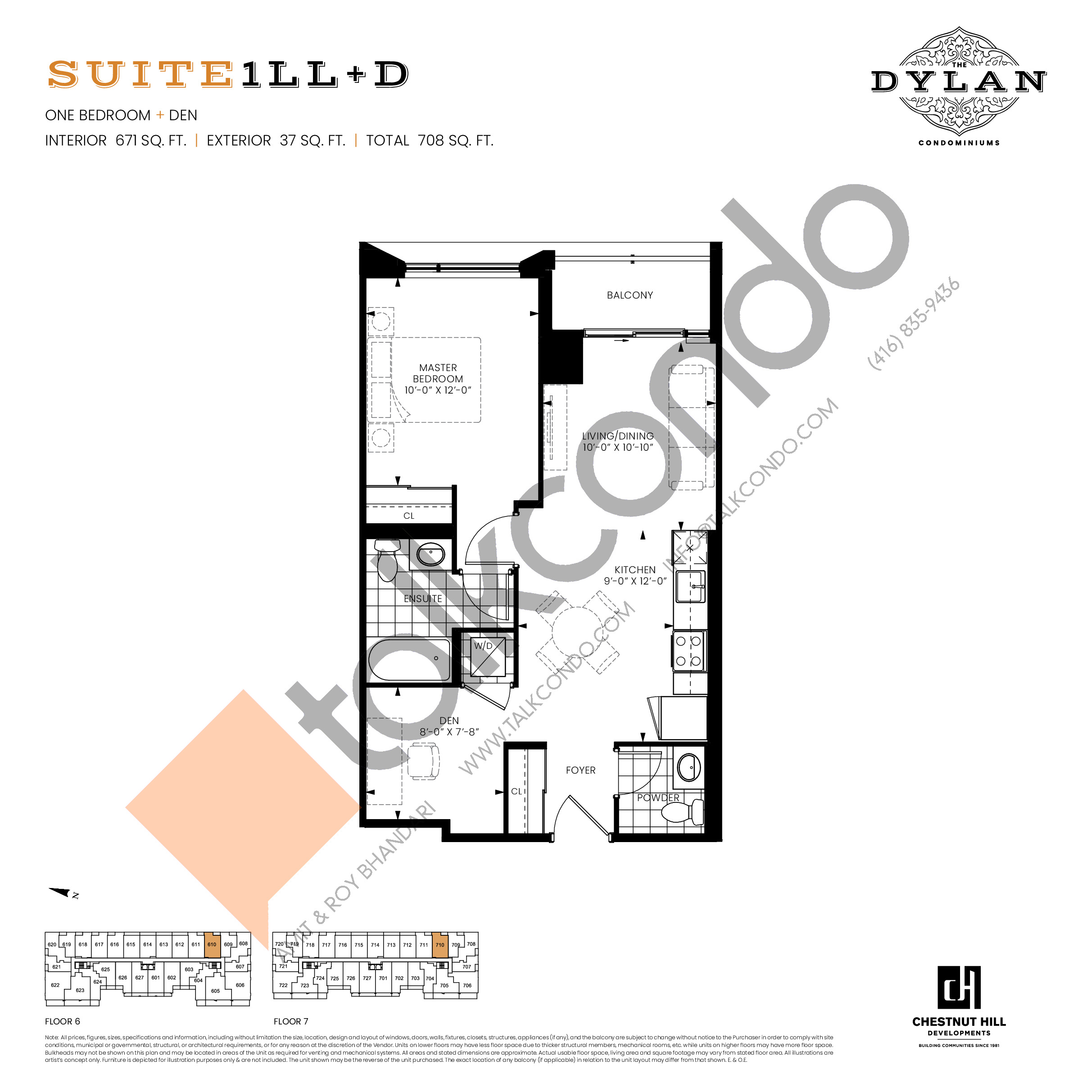 Suite 1LL+D Floor Plan at The Dylan Condos - 671 sq.ft