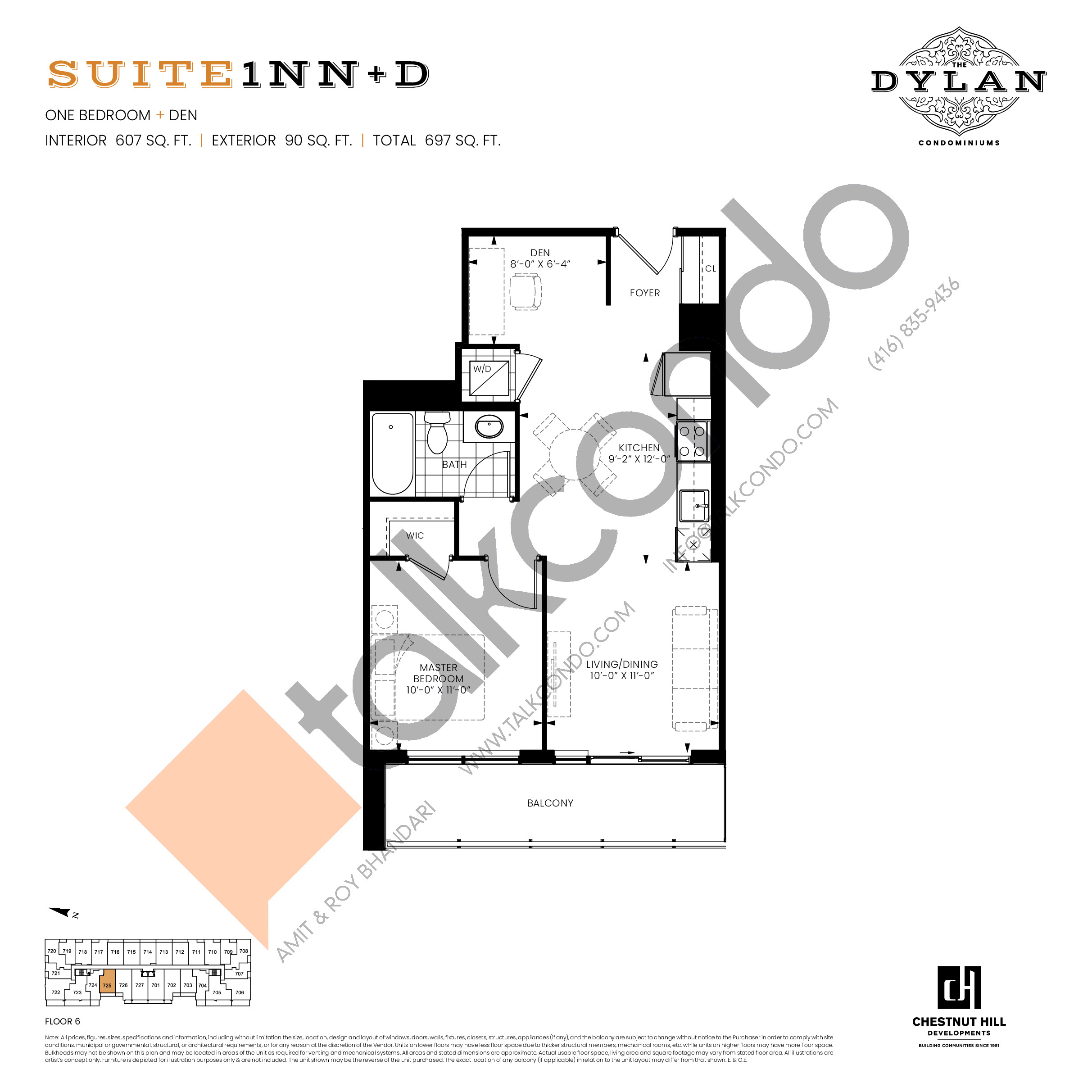Suite 1NN+D Floor Plan at The Dylan Condos - 607 sq.ft