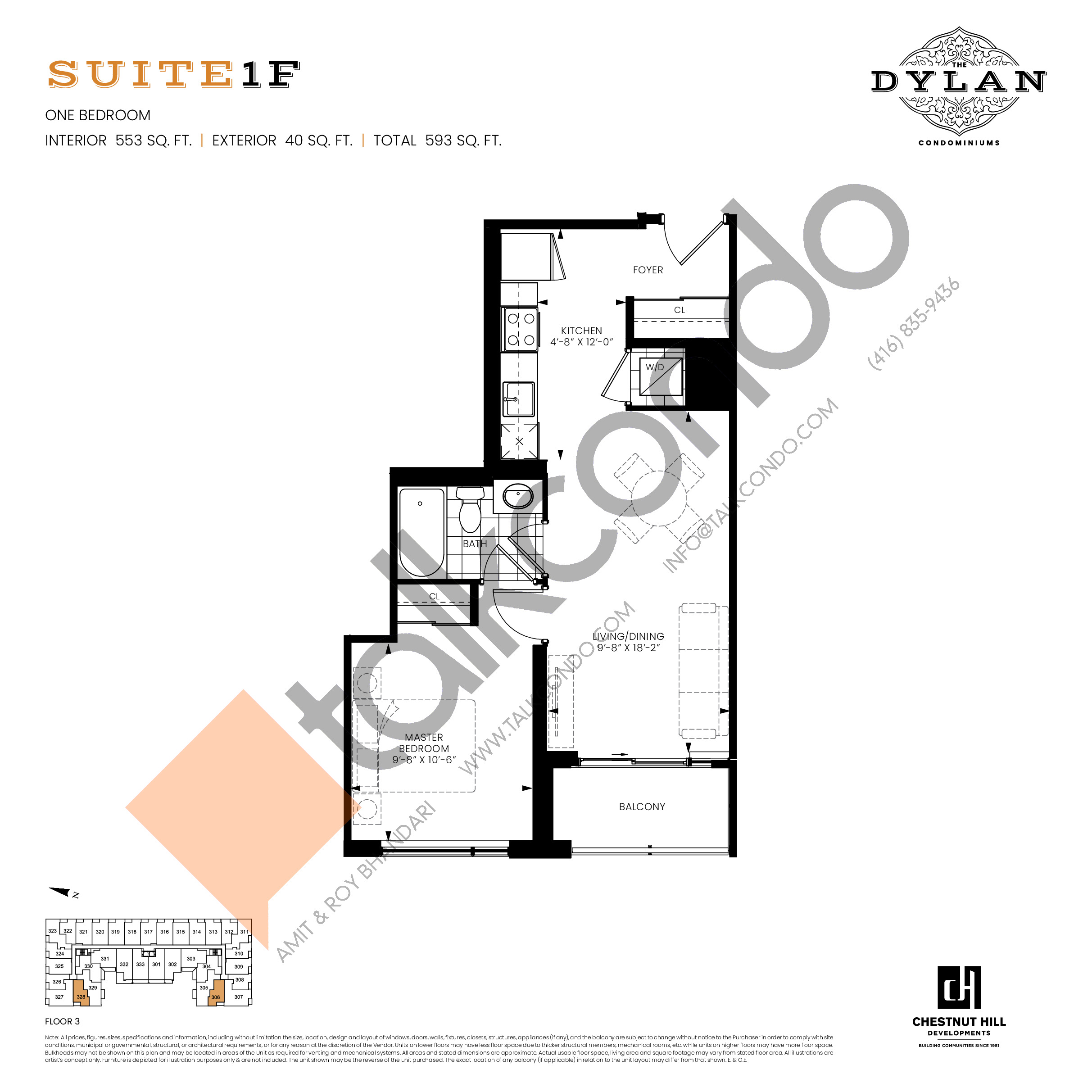 Suite 1F Floor Plan at The Dylan Condos - 553 sq.ft