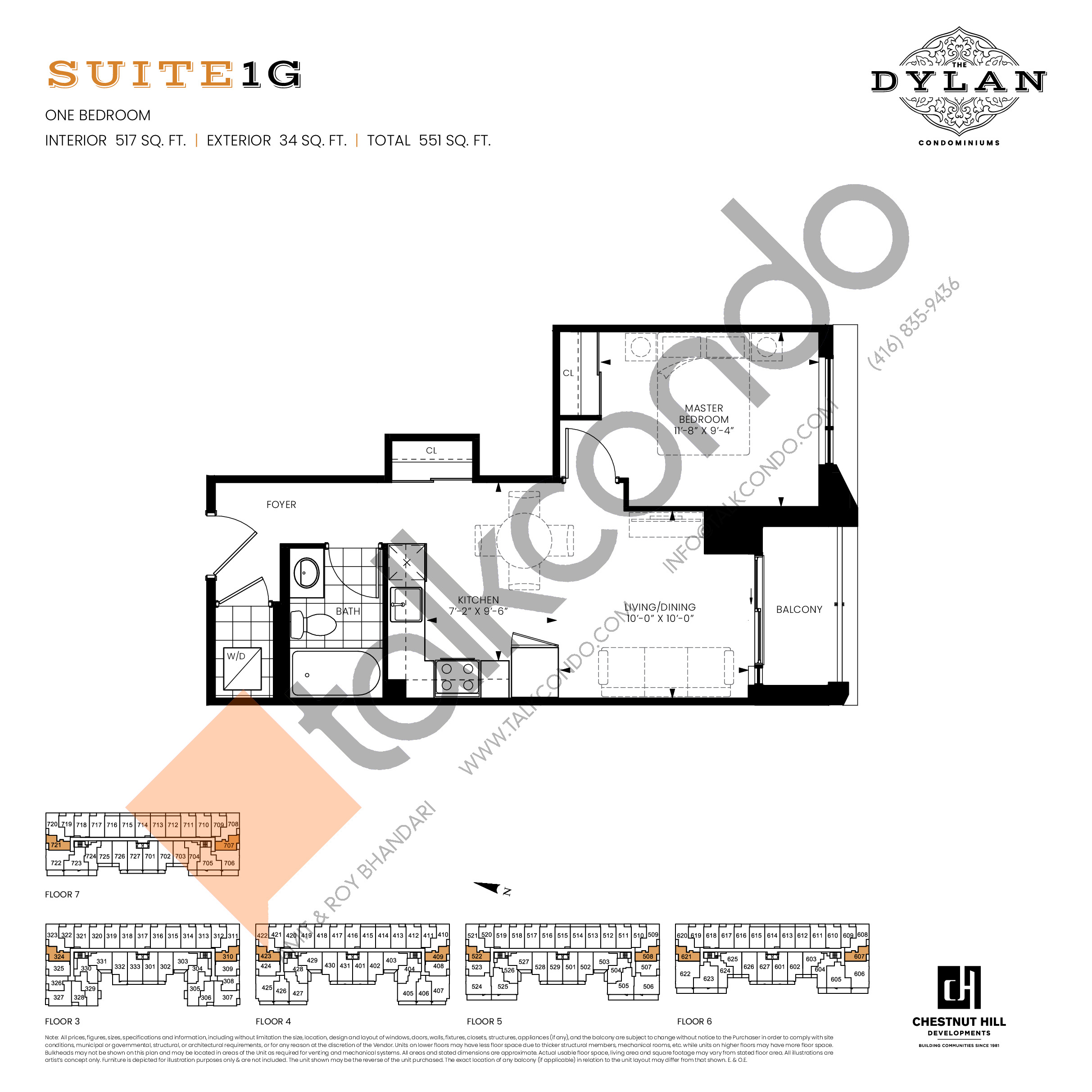 Suite 1G Floor Plan at The Dylan Condos - 517 sq.ft