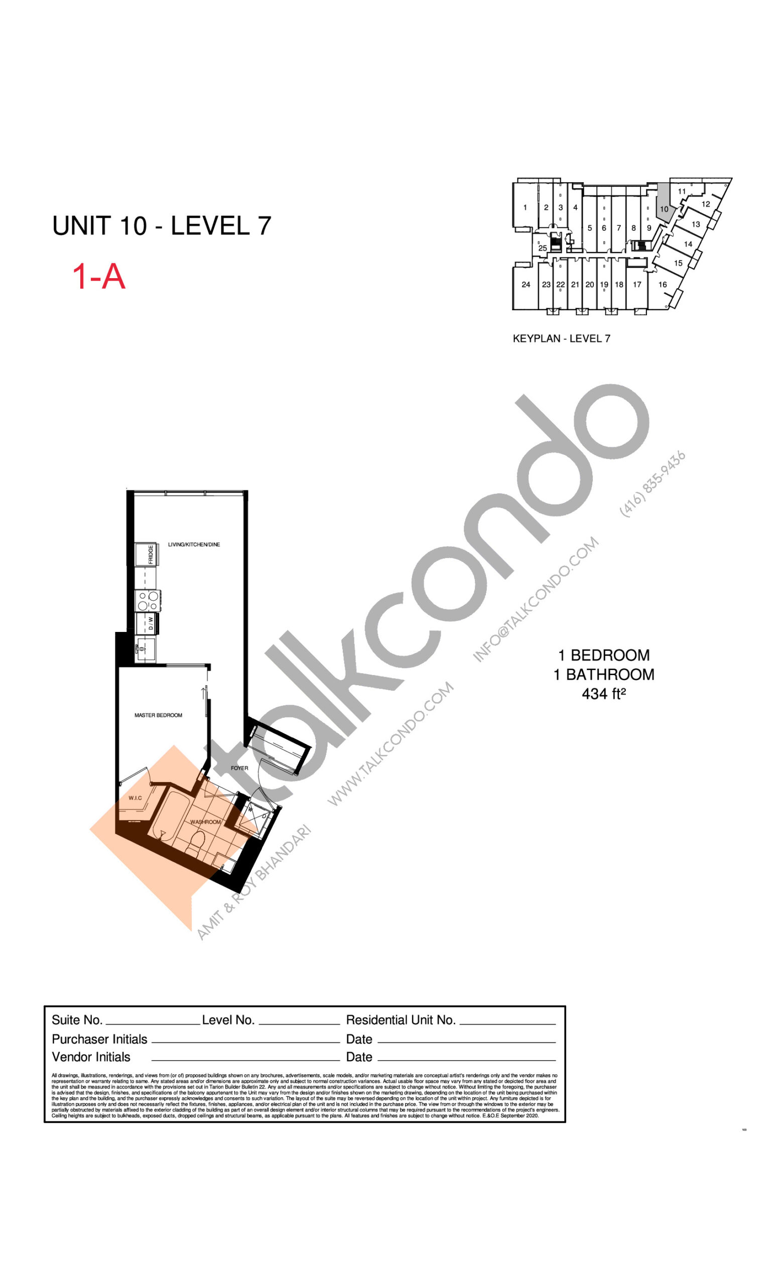 1-A Floor Plan at The Manderley Condos - 434 sq.ft