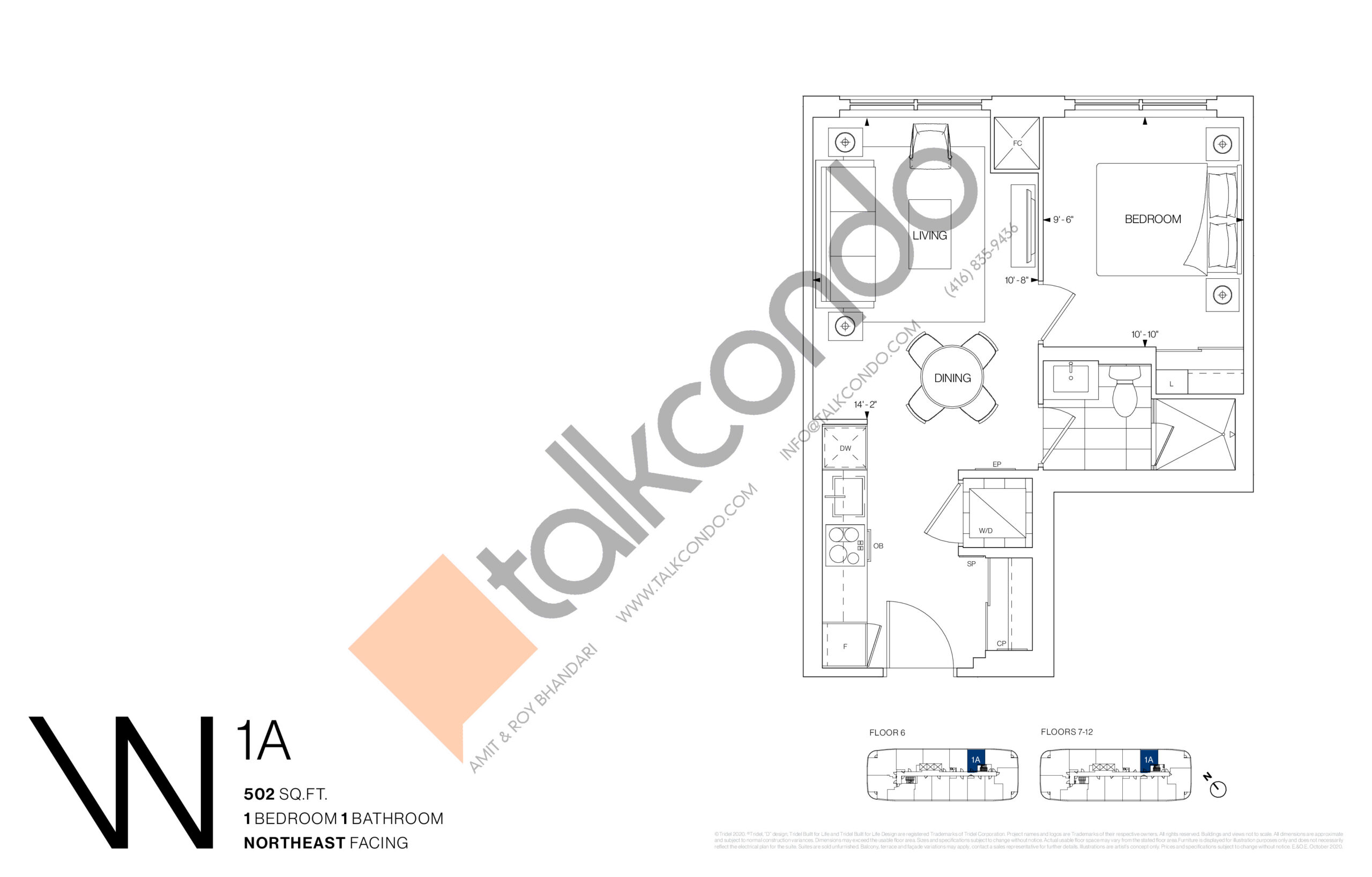 1A Floor Plan at Westerly Condos - 502 sq.ft