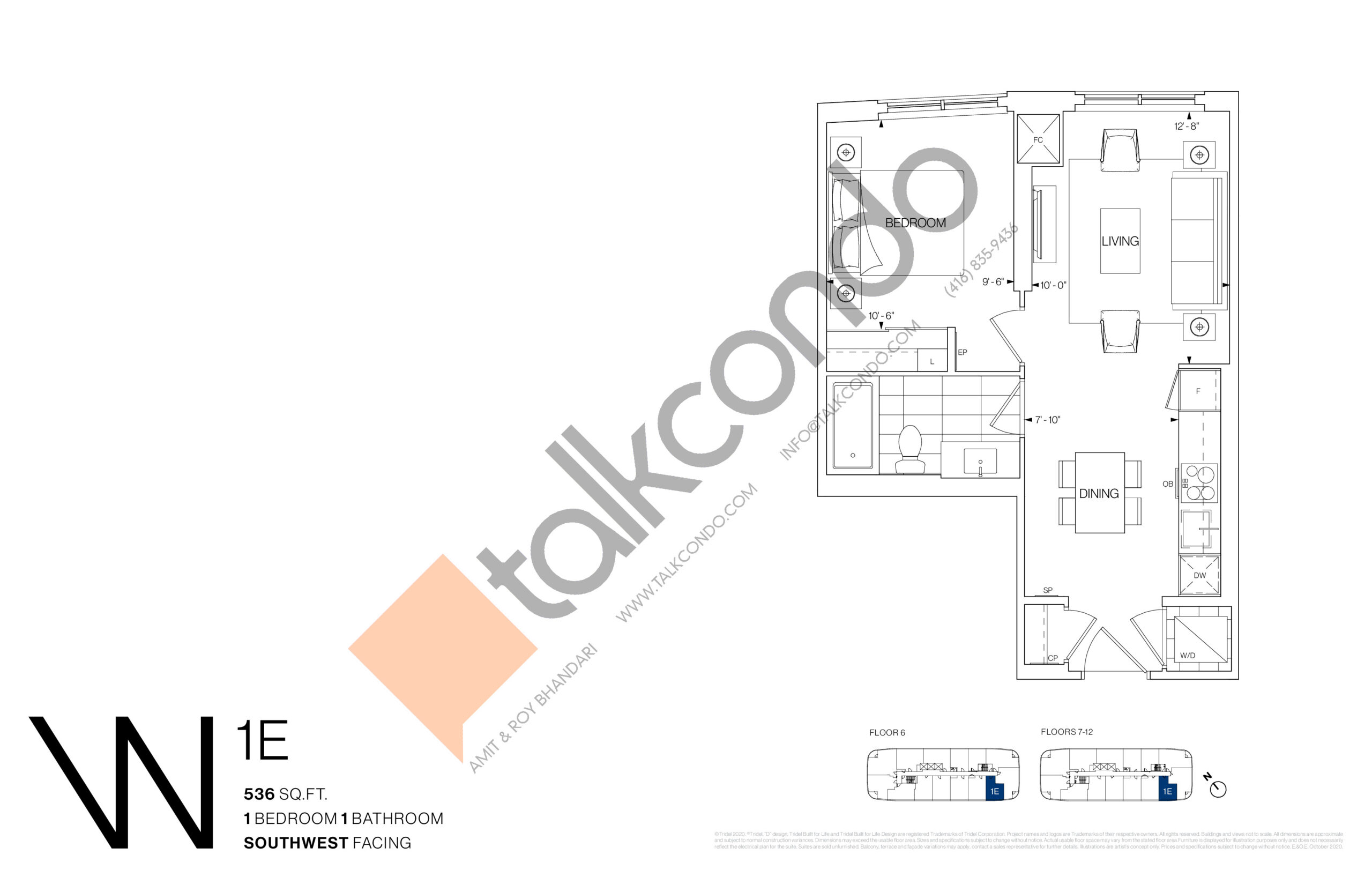 1E Floor Plan at Westerly Condos - 536 sq.ft