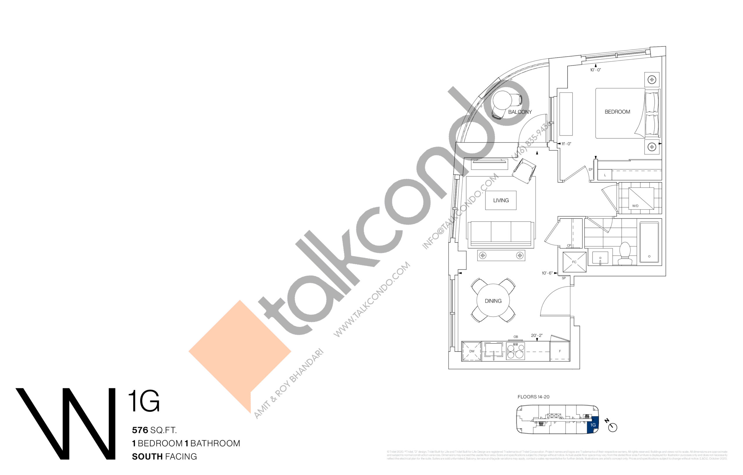 1G Floor Plan at Westerly Condos - 576 sq.ft