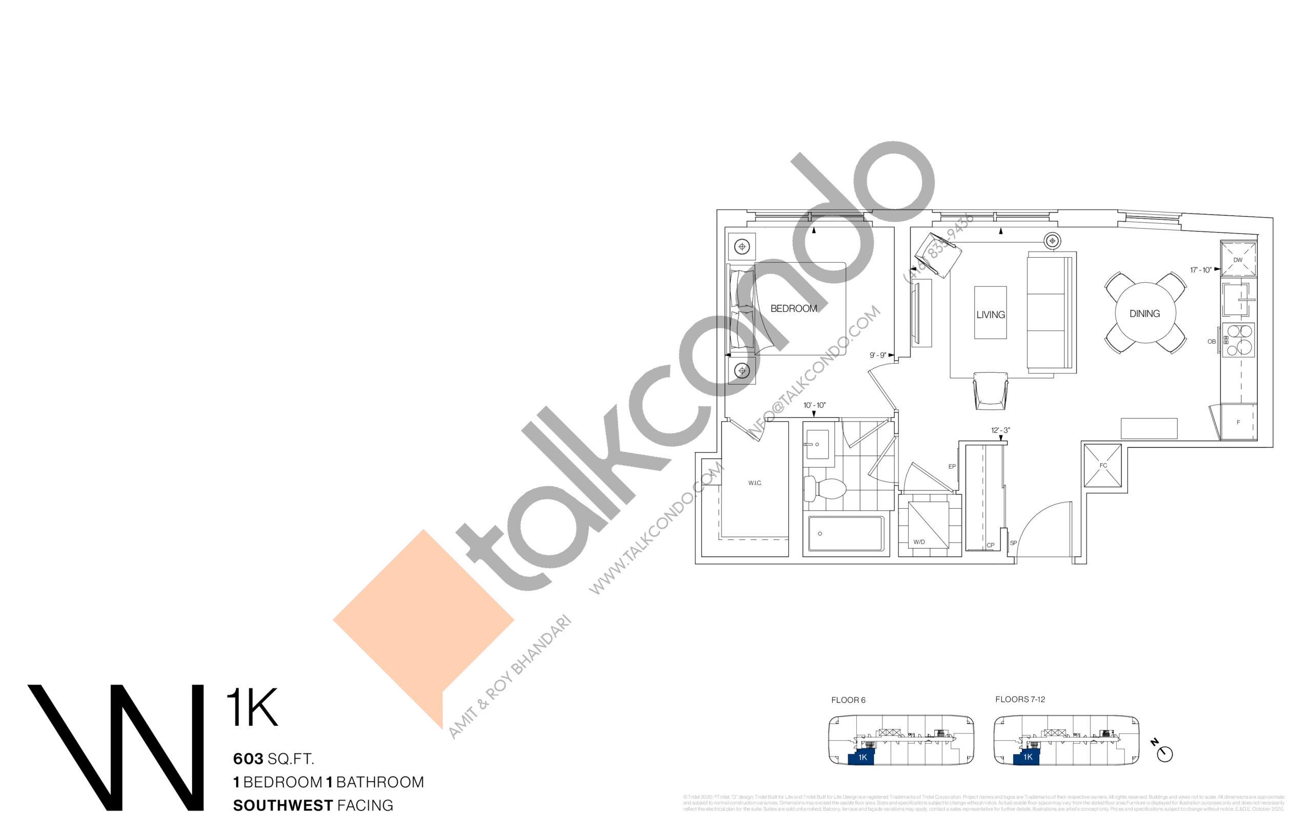 1K Floor Plan at Westerly Condos - 603 sq.ft