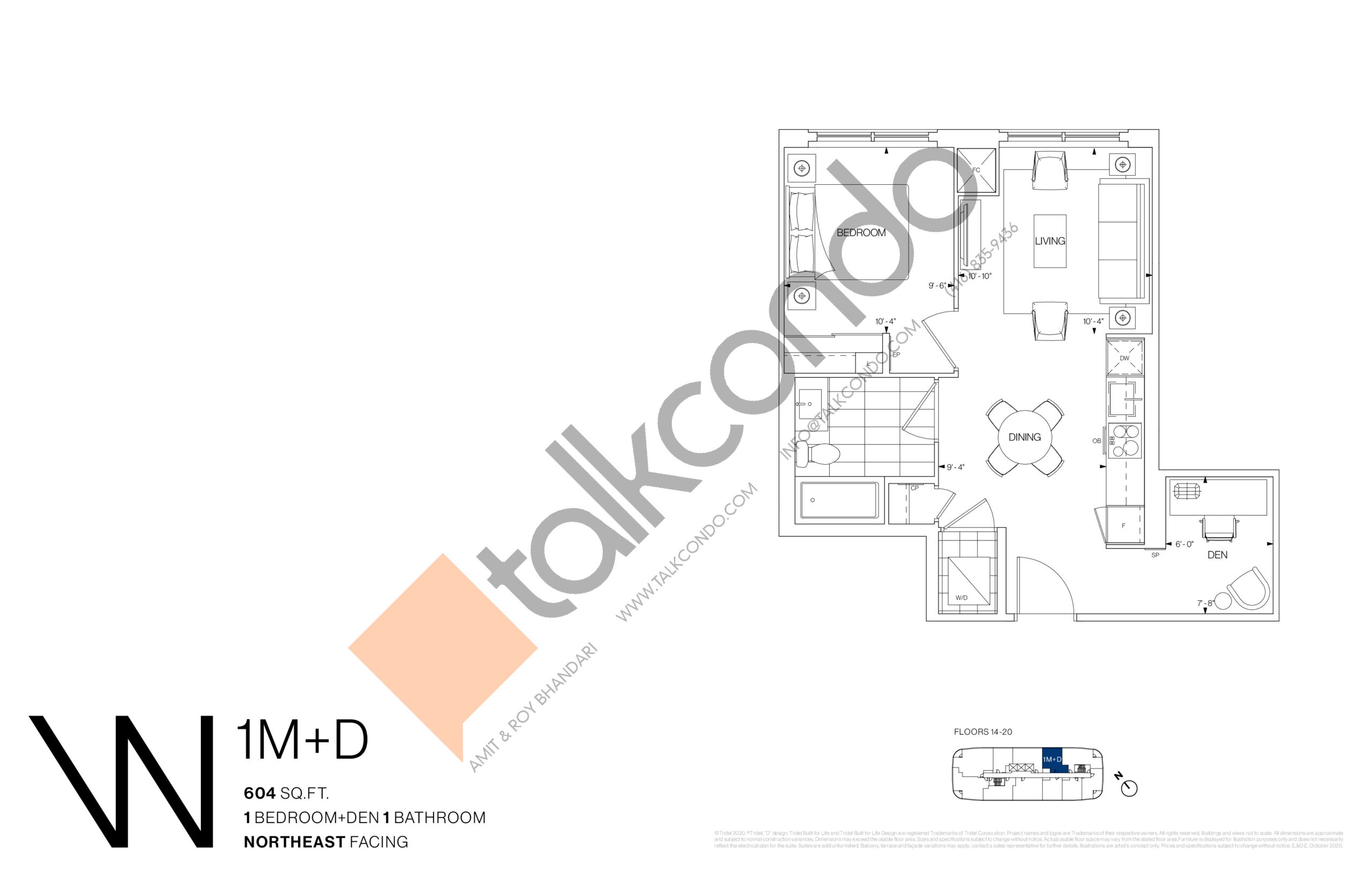 1M+D Floor Plan at Westerly Condos - 604 sq.ft