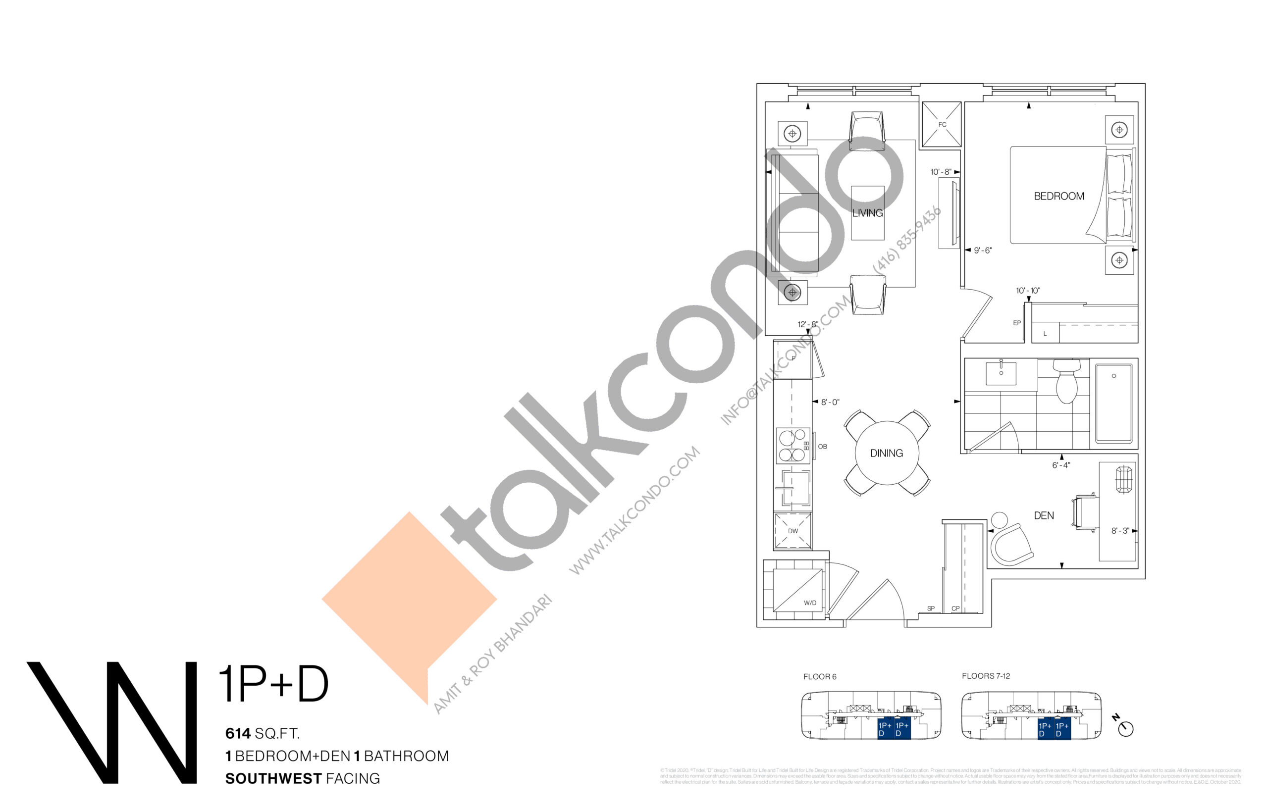 1P+D Floor Plan at Westerly Condos - 614 sq.ft