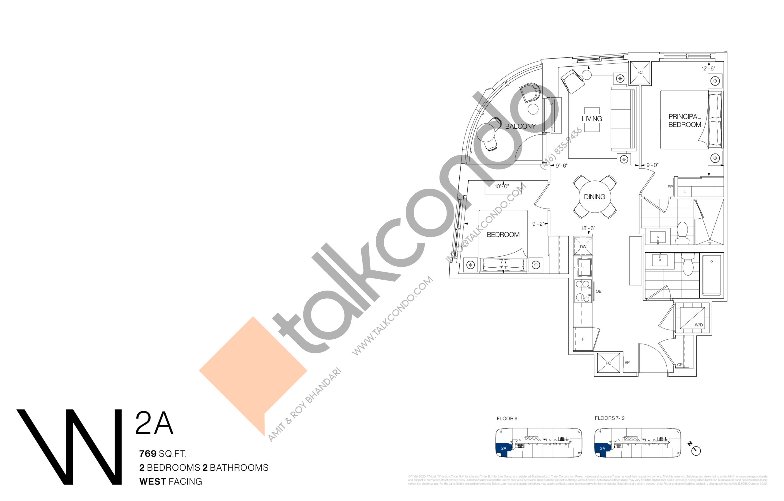 2A Floor Plan at Westerly Condos - 769 sq.ft