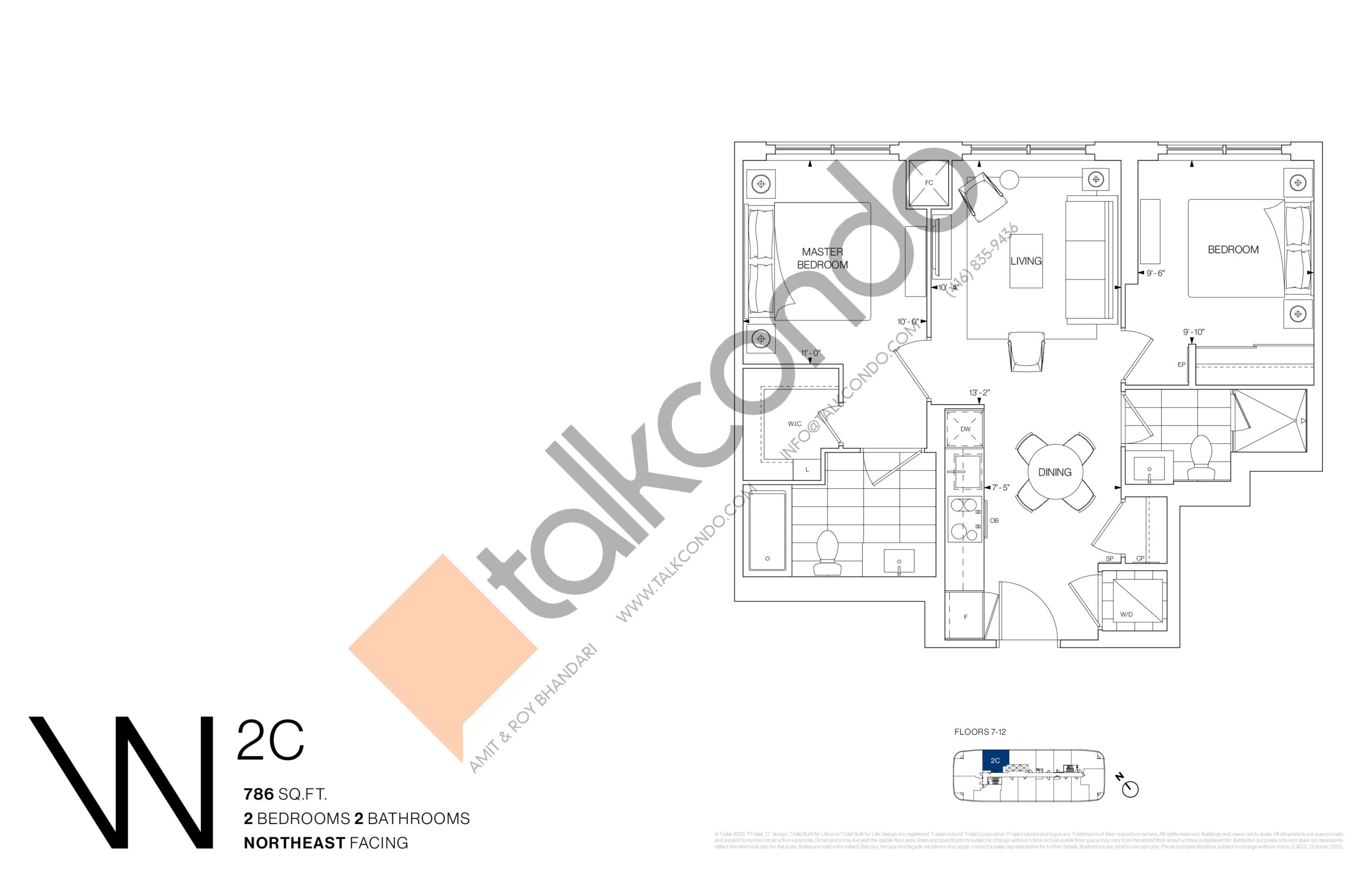 2C Floor Plan at Westerly Condos - 786 sq.ft