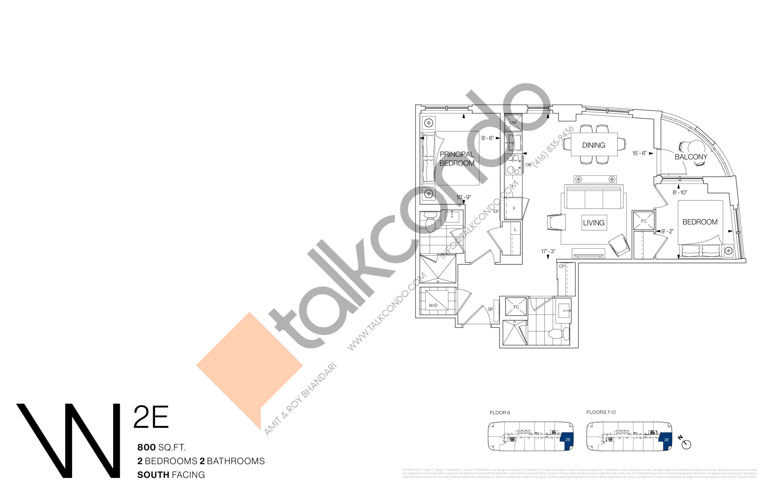2E Floor Plan at Westerly Condos - 800 sq.ft
