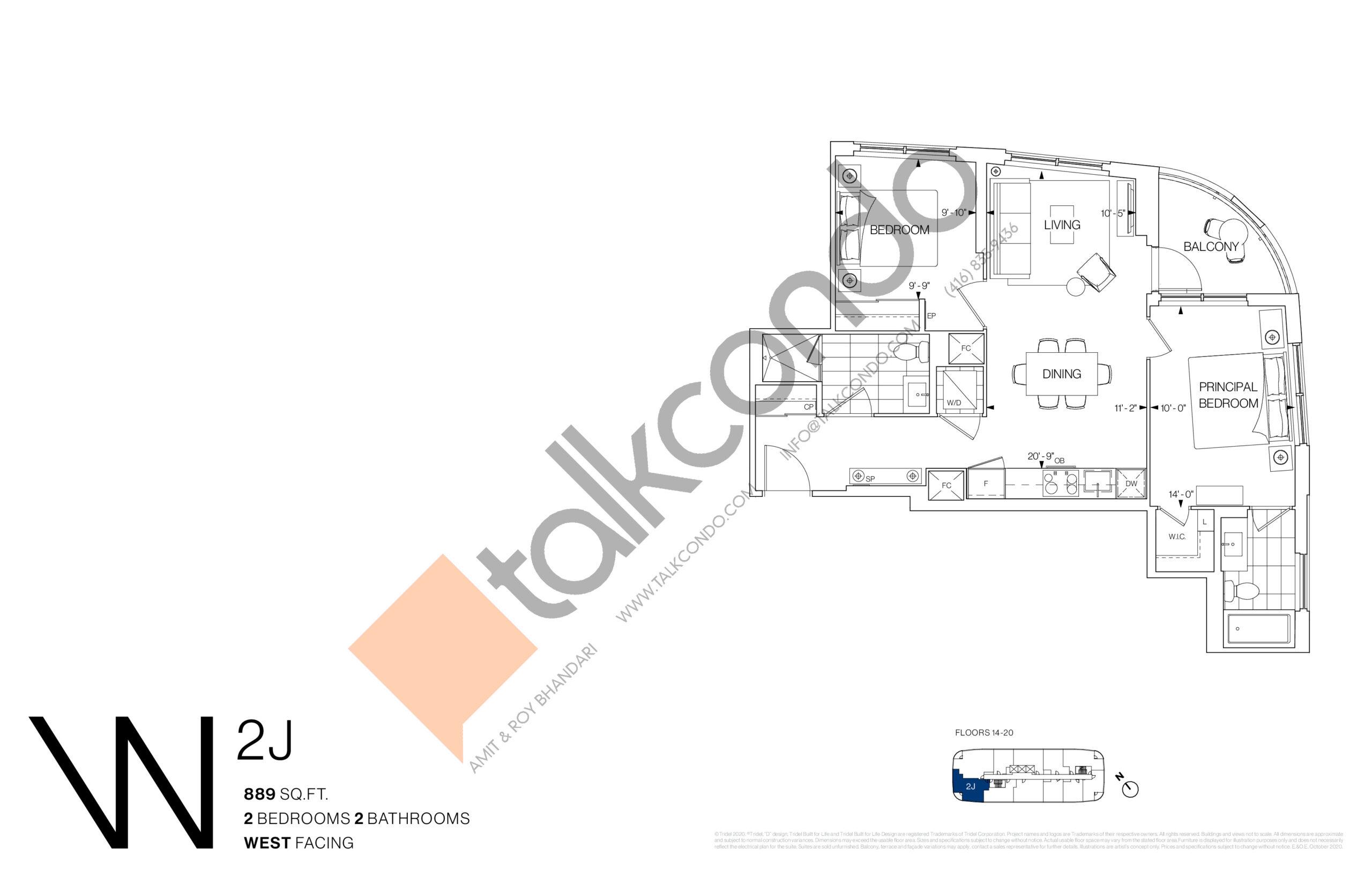 2J Floor Plan at Westerly Condos - 889 sq.ft