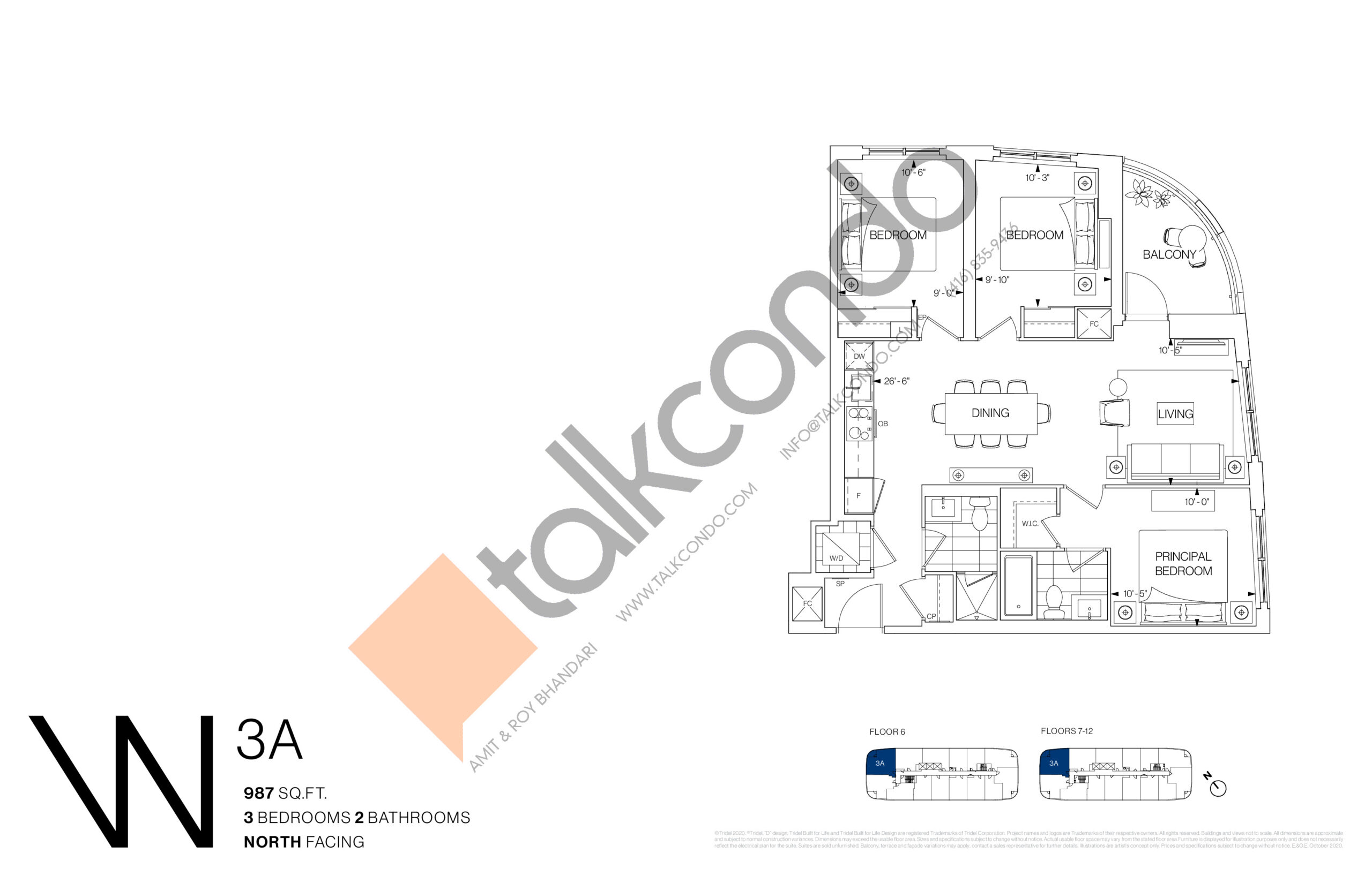 3A Floor Plan at Westerly Condos - 987 sq.ft