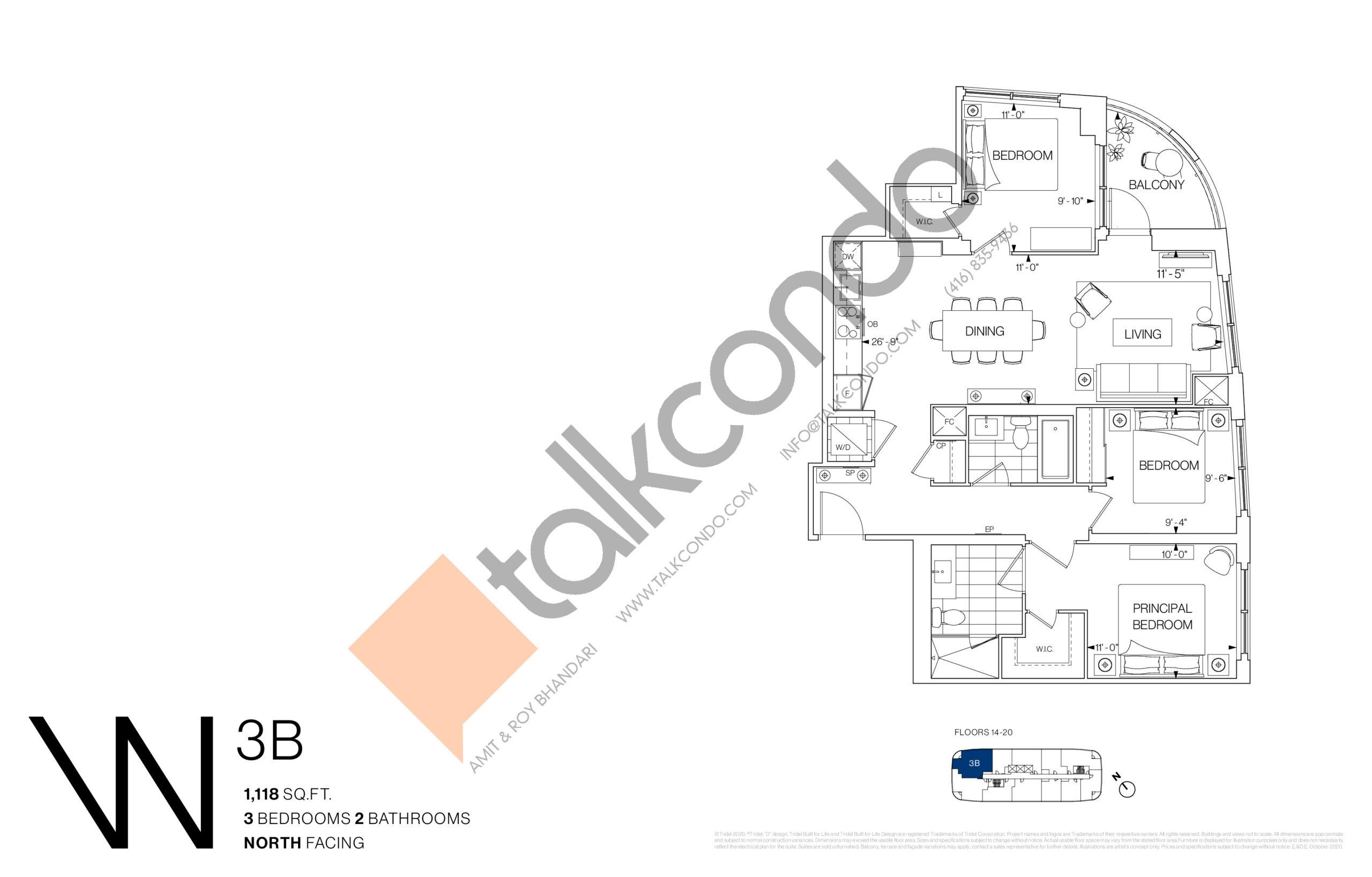 3B Floor Plan at Westerly Condos - 1118 sq.ft