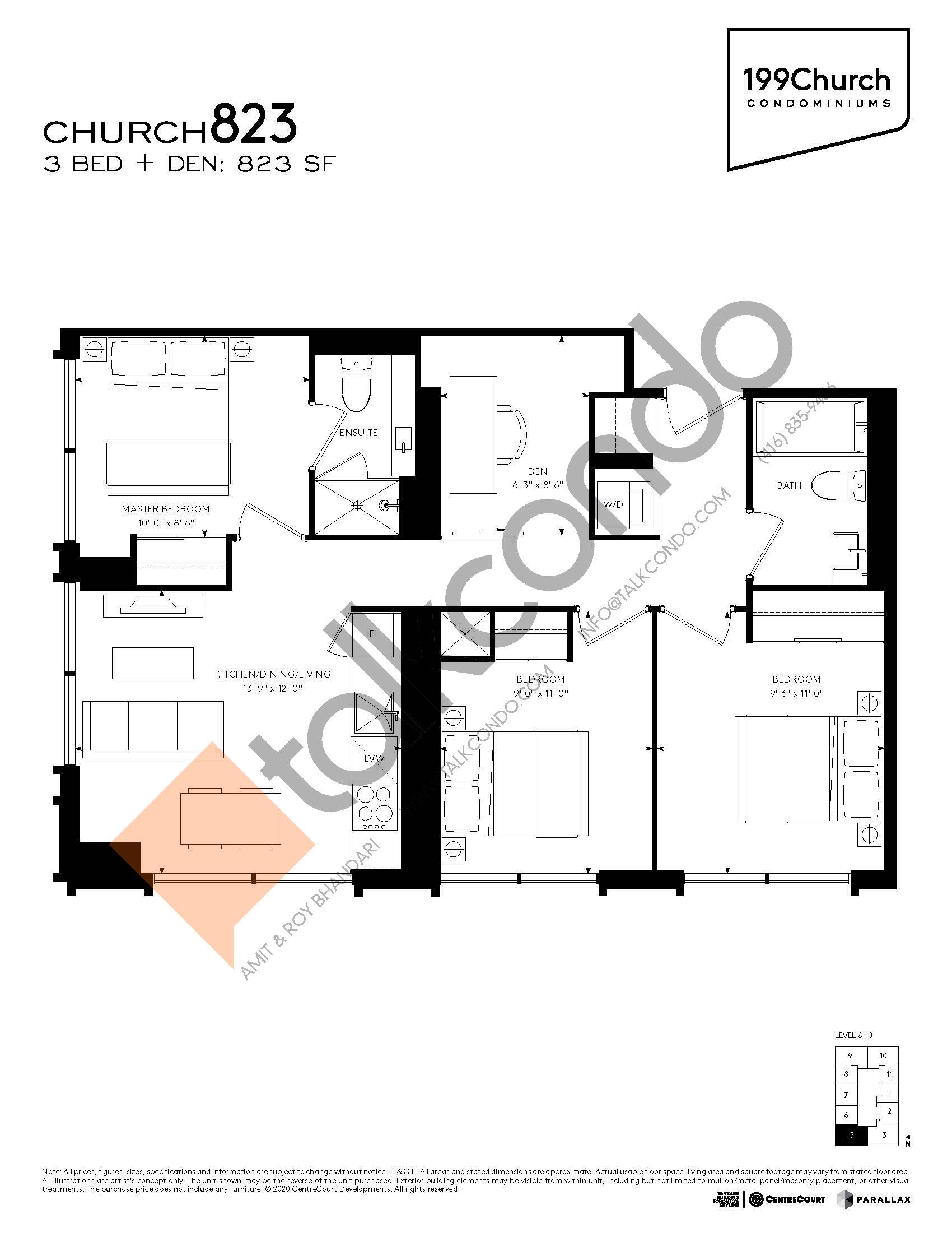 Church 823 Floor Plan at 199 Church Condos - 823 sq.ft