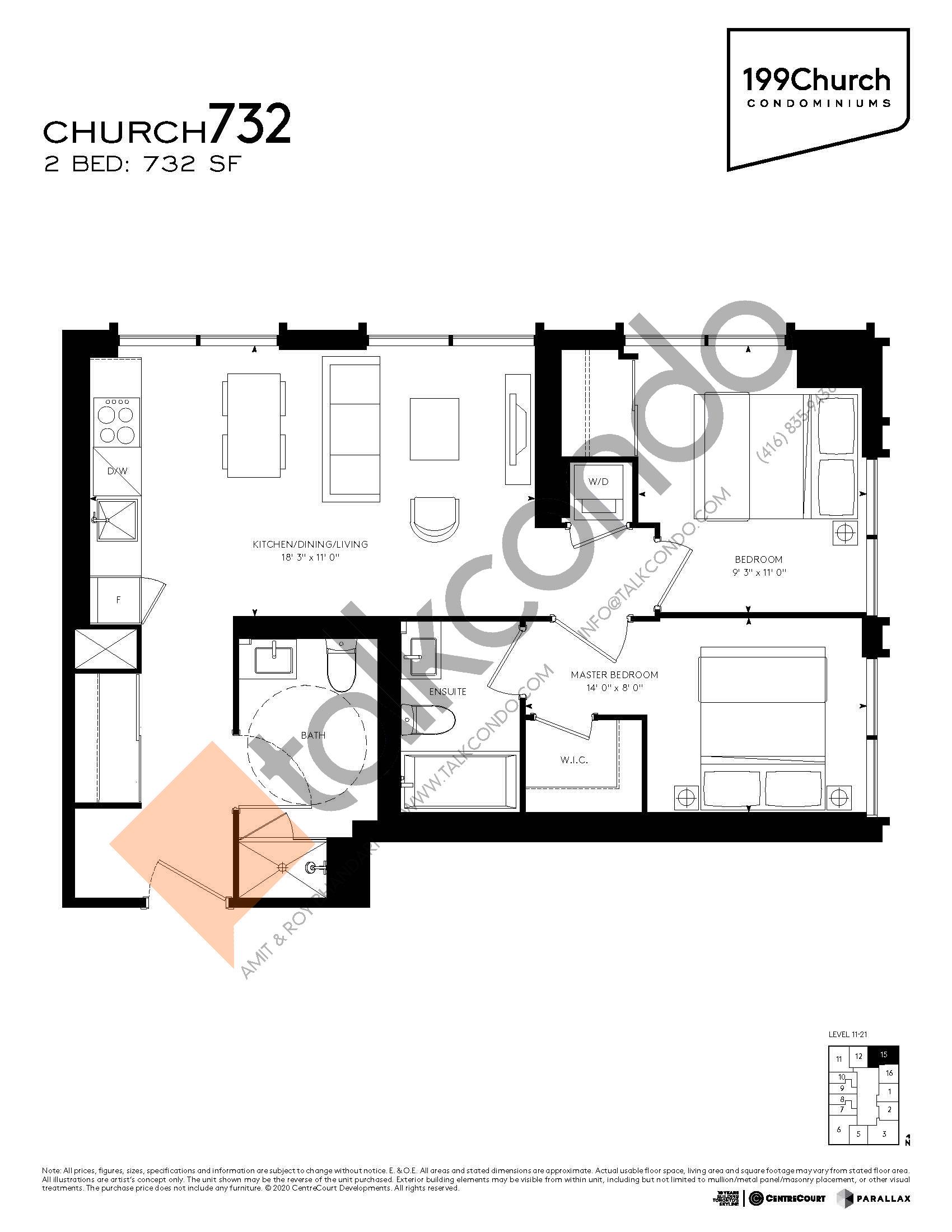 Church 732 Floor Plan at 199 Church Condos - 732 sq.ft