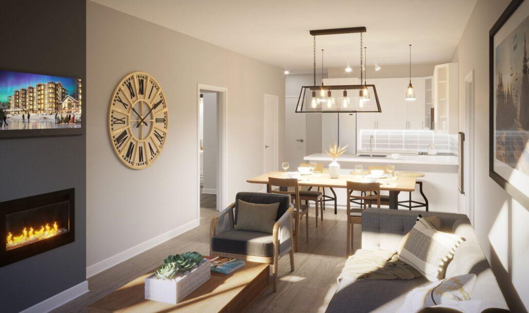 Edge Condos at Horseshoe Resort Living Room