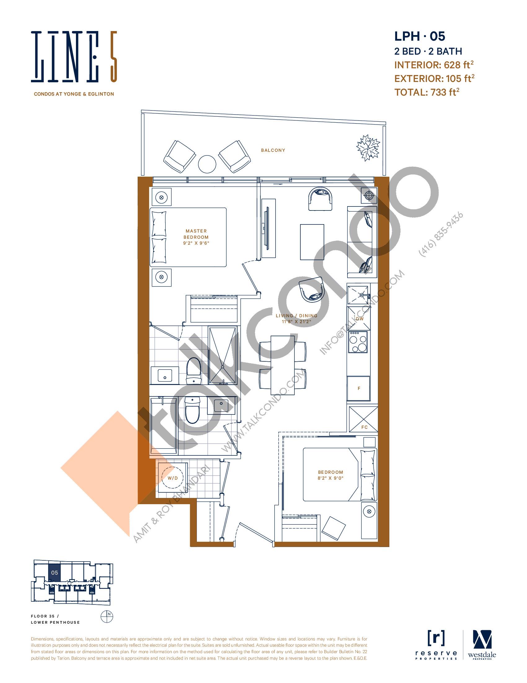 LPH-05 Floor Plan at Line 5 Condos - 628 sq.ft