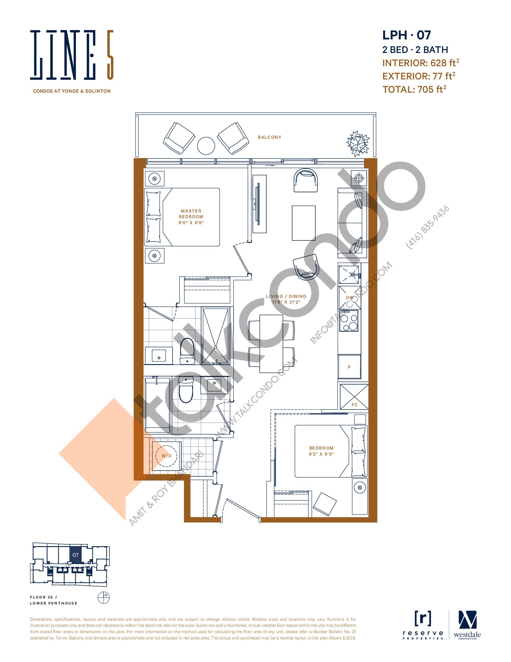 LPH-07 Floor Plan at Line 5 Condos - 628 sq.ft