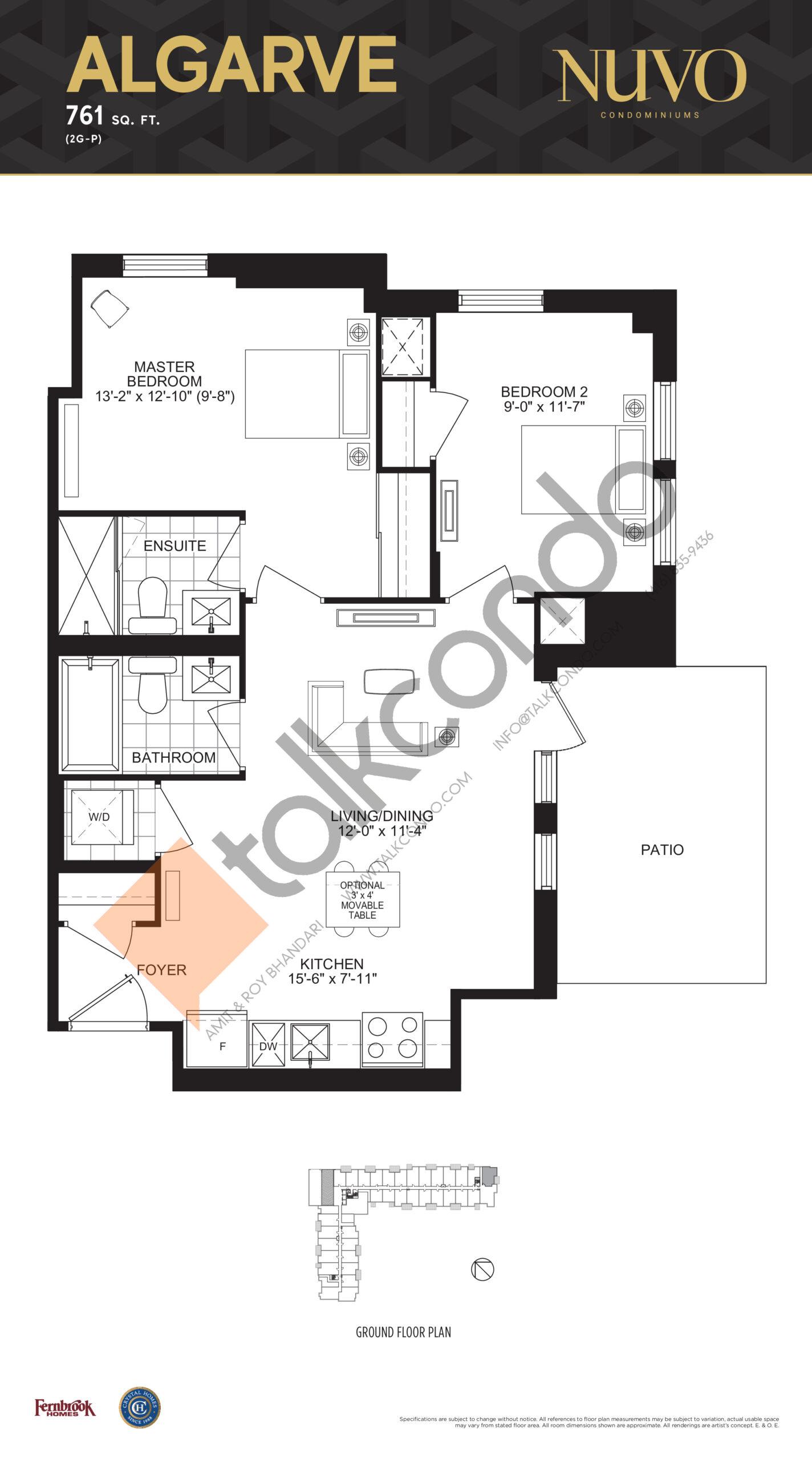 Algarve Floor Plan at Nuvo Condos - 761 sq.ft