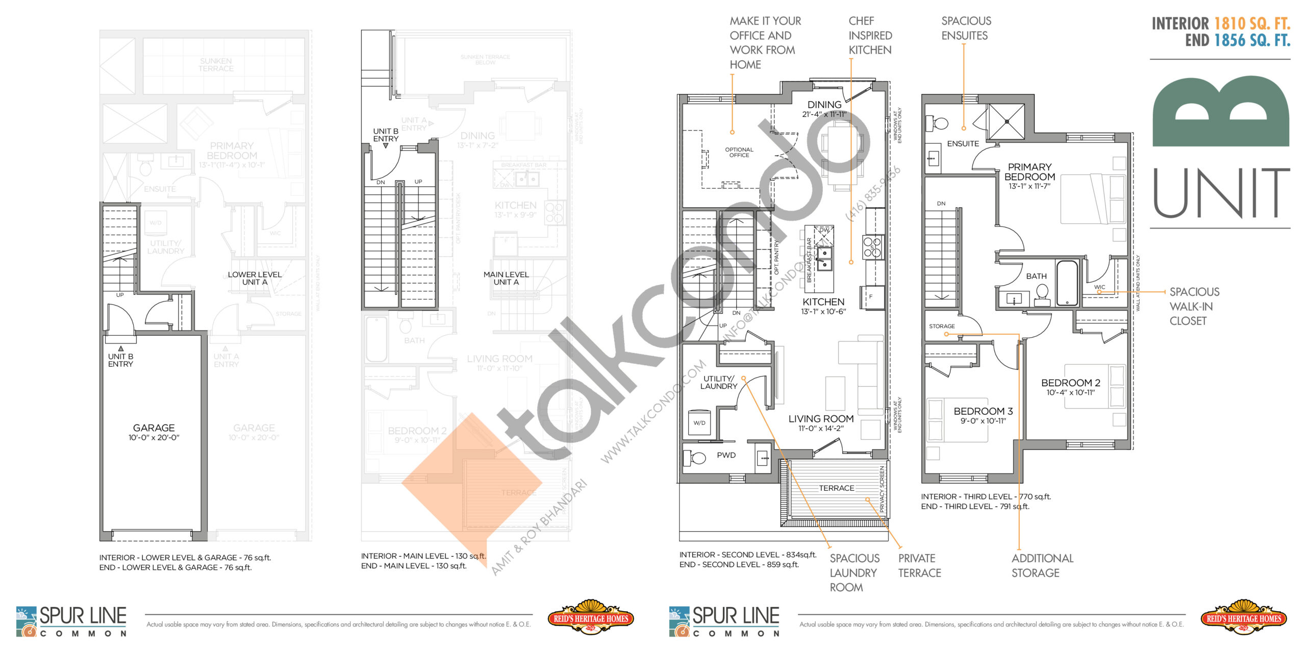Unit B Floor Plan at Spur Line Common Towns - 1856 sq.ft