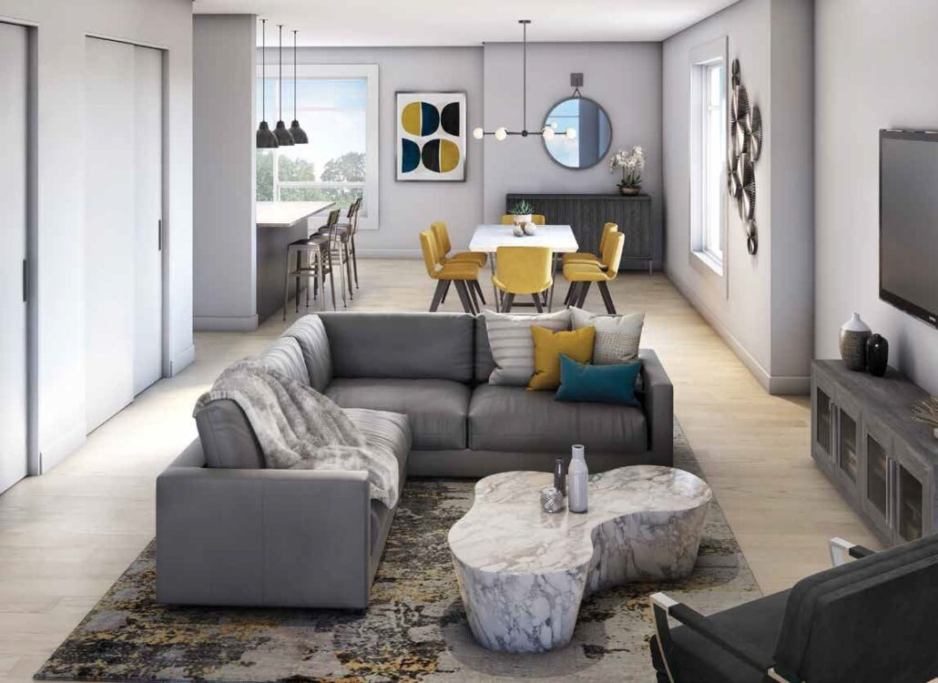 The Crawford Urban Towns Living Room Rendering