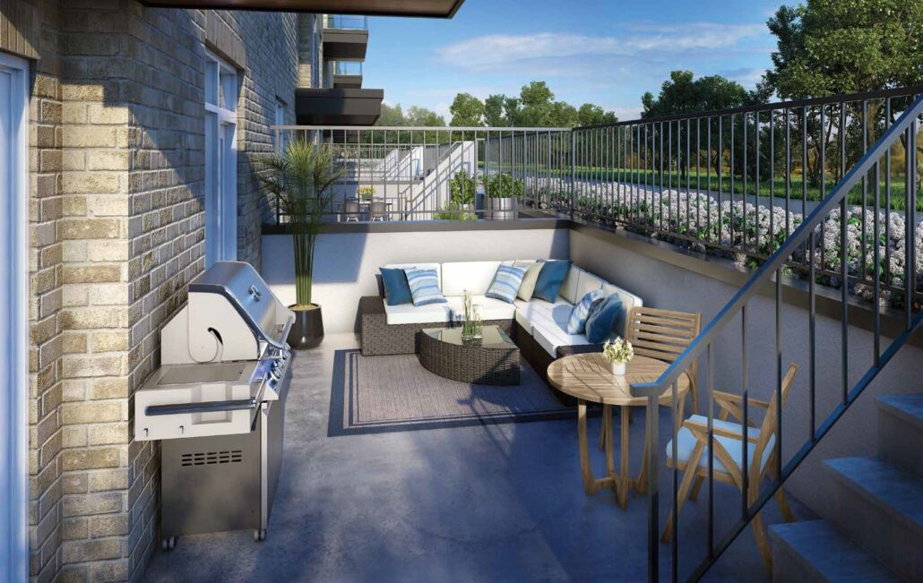 The Crawford Urban Towns Outdoor Patio Rendering