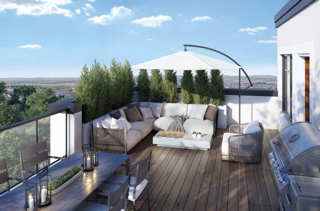 The Crawford Urban Towns Outdoor Terrace Rendering