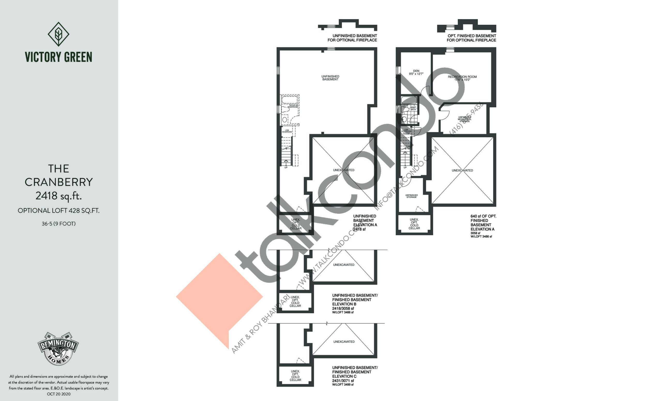 The Cranberry (1/2) Floor Plan at Victory Green Towns - 2418 sq.ft