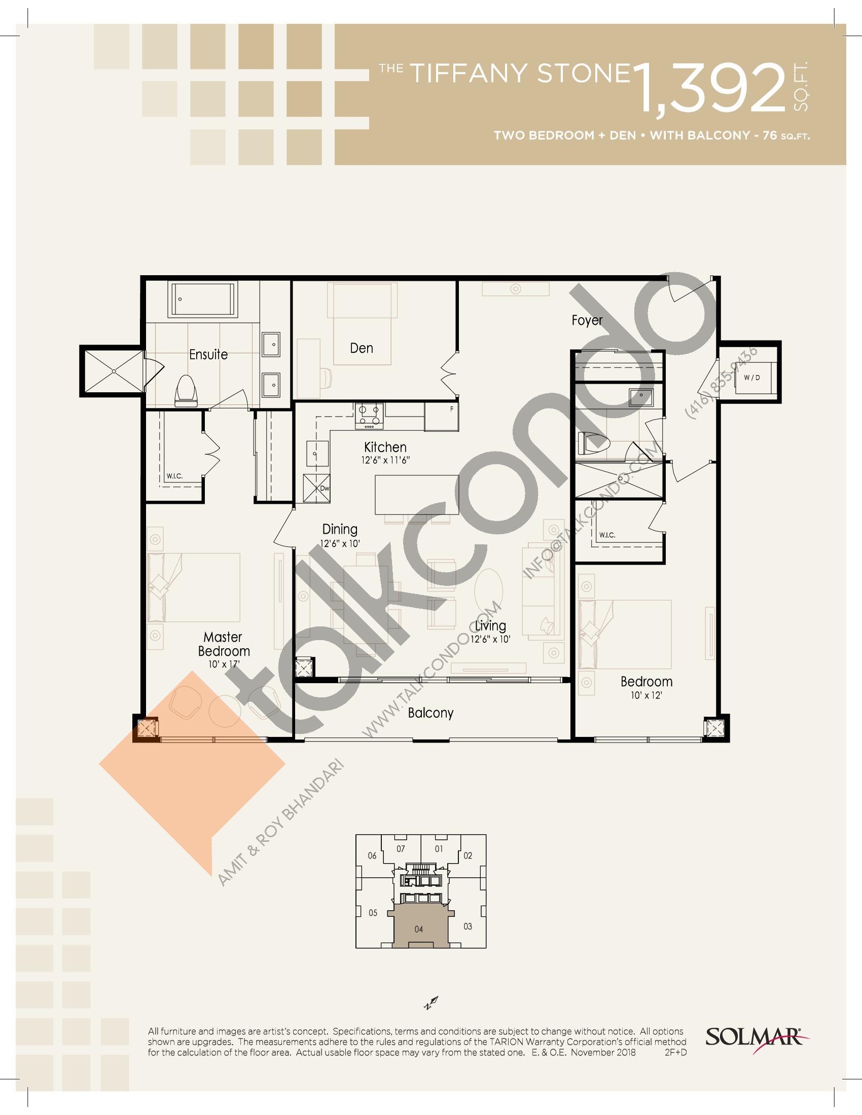 The Tiffany Stone Floor Plan at Edge Tower 2 Condos - 1392 sq.ft
