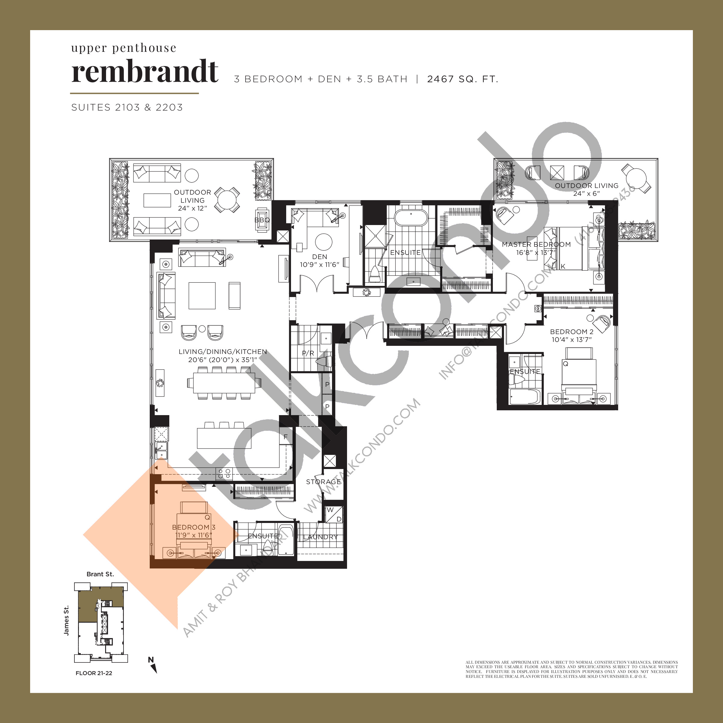 Rembrandt (Upper Penthouse) Floor Plan at Gallery Condos and Lofts - 2467 sq.ft