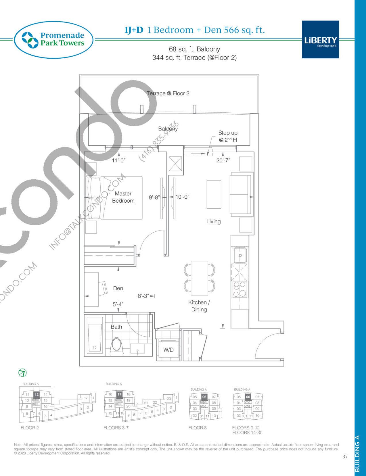 1J+D Floor Plan at Promenade Park Towers Condos - 566 sq.ft