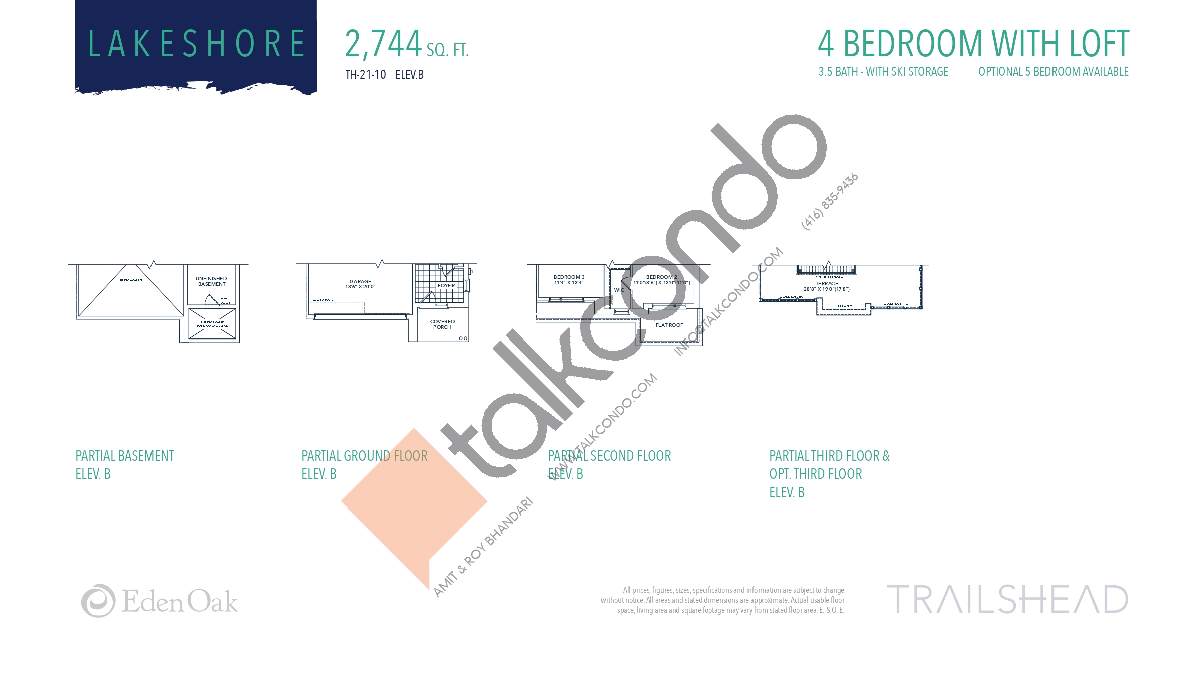 Lakeshore (2/5) Floor Plan at Trailshead Towns - 2744 sq.ft