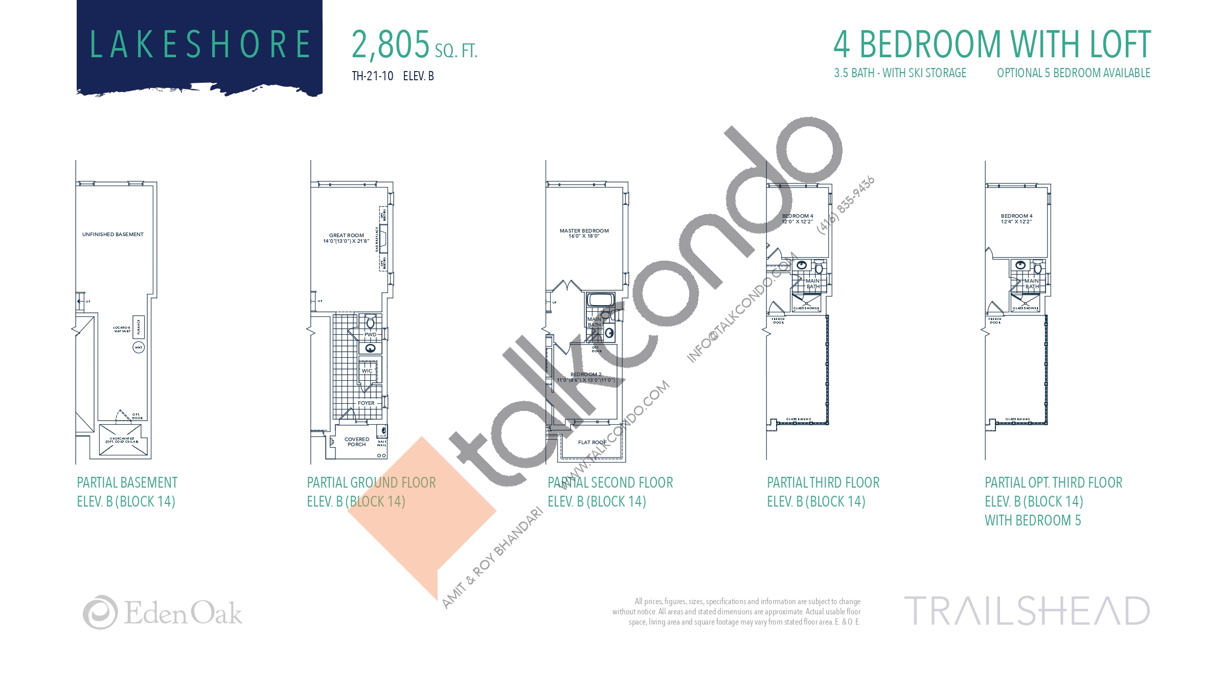 Lakeshore (4/5) Floor Plan at Trailshead Towns - 2805 sq.ft