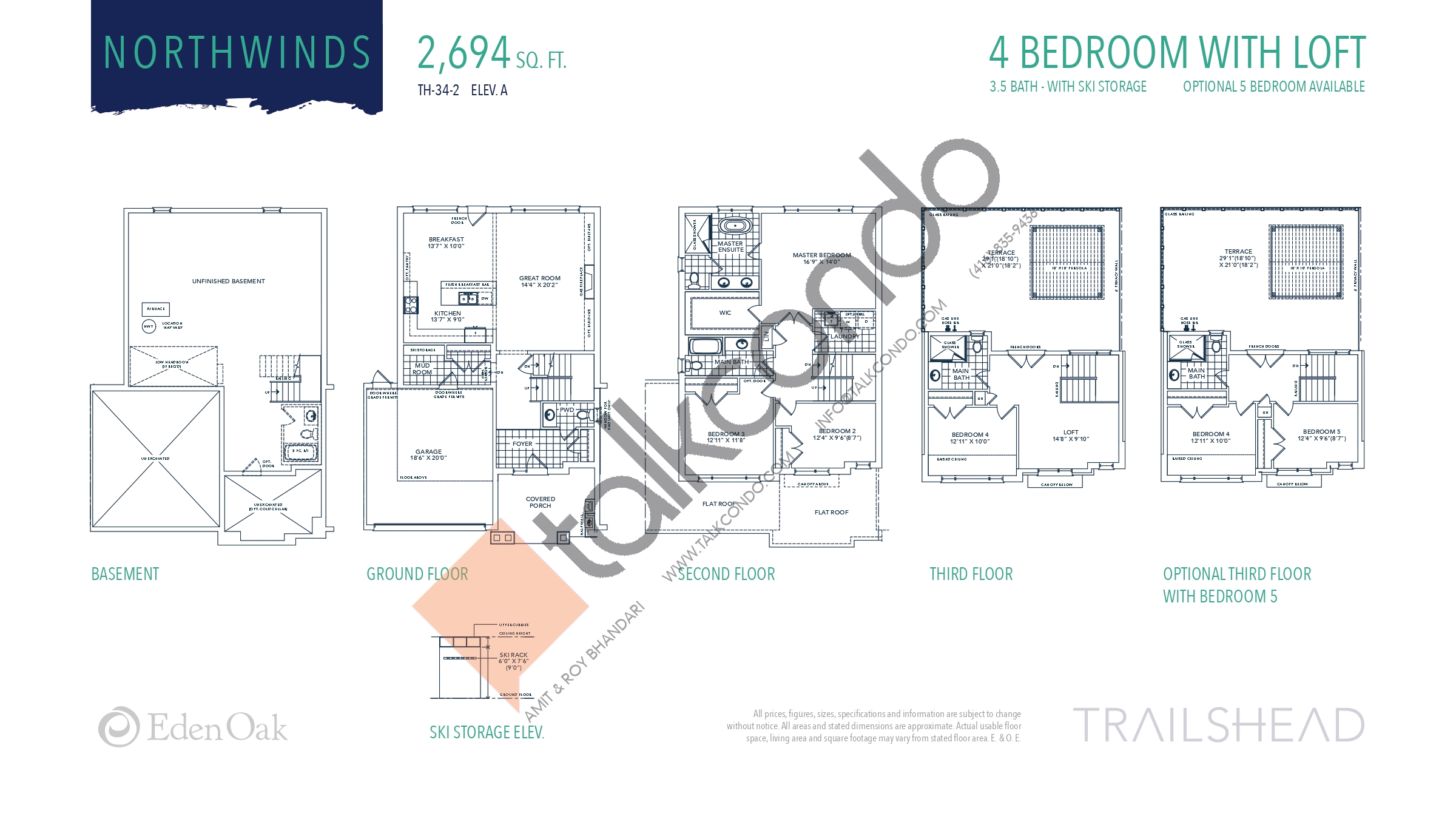 Northwinds (1/2) Floor Plan at Trailshead Towns - 2694 sq.ft