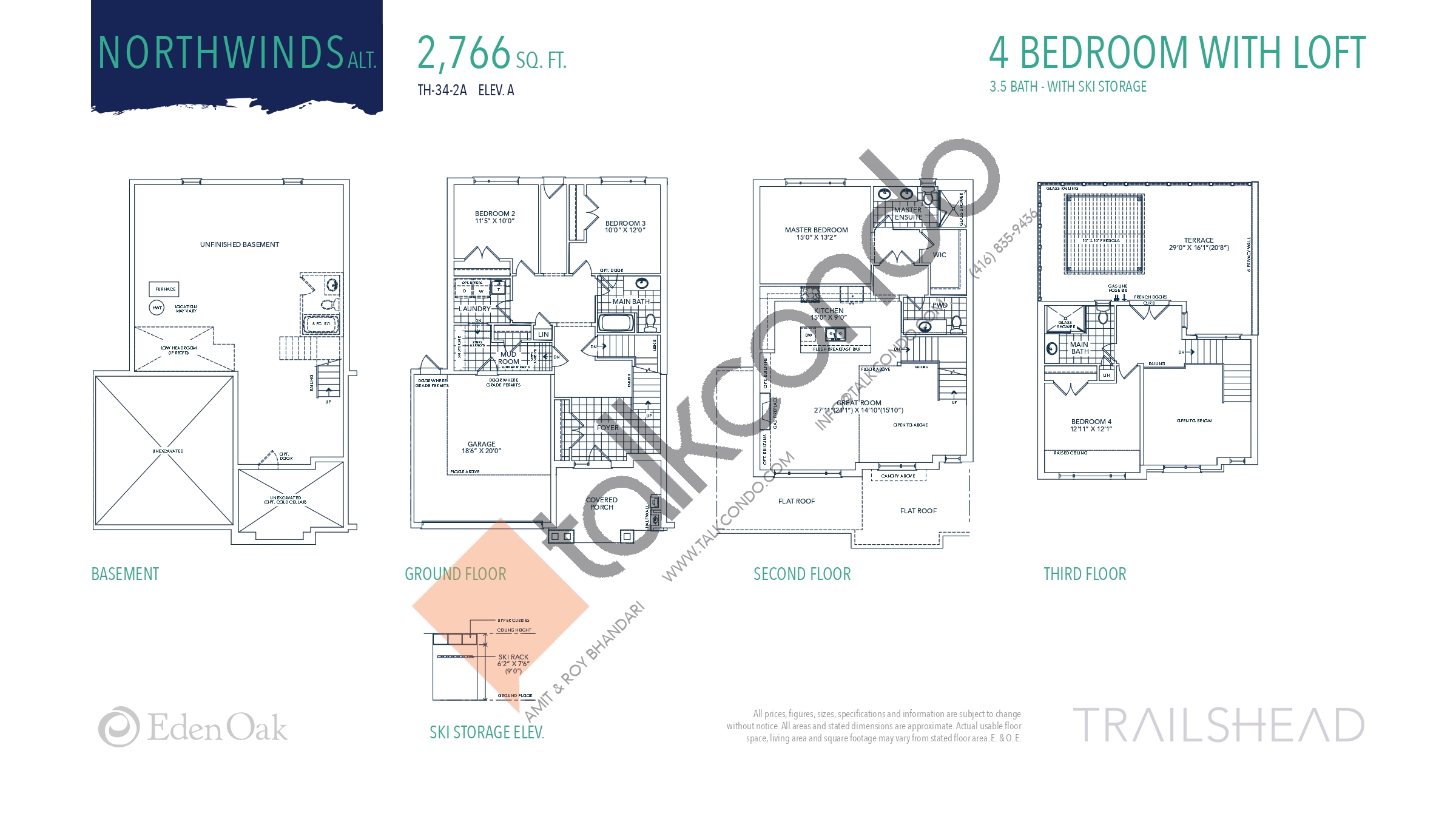 Northwinds Alt. (1/2) Floor Plan at Trailshead Towns - 2766 sq.ft