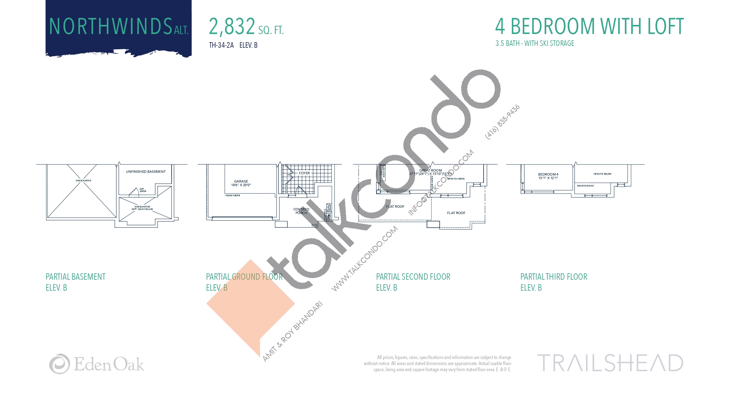 Northwinds Alt. (2/2) Floor Plan at Trailshead Towns - 2832 sq.ft