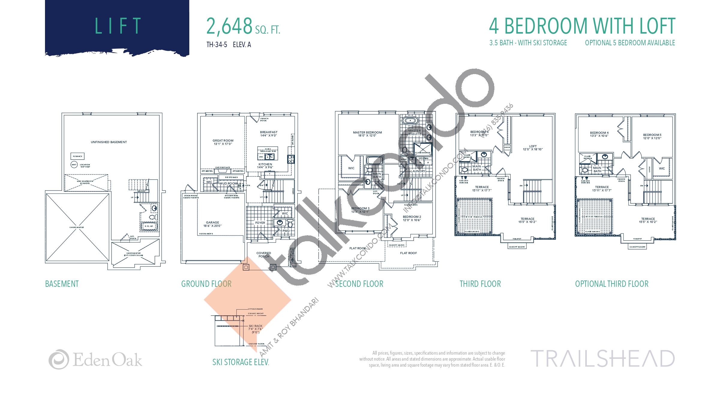 Lift (1/2) Floor Plan at Trailshead Towns - 2648 sq.ft